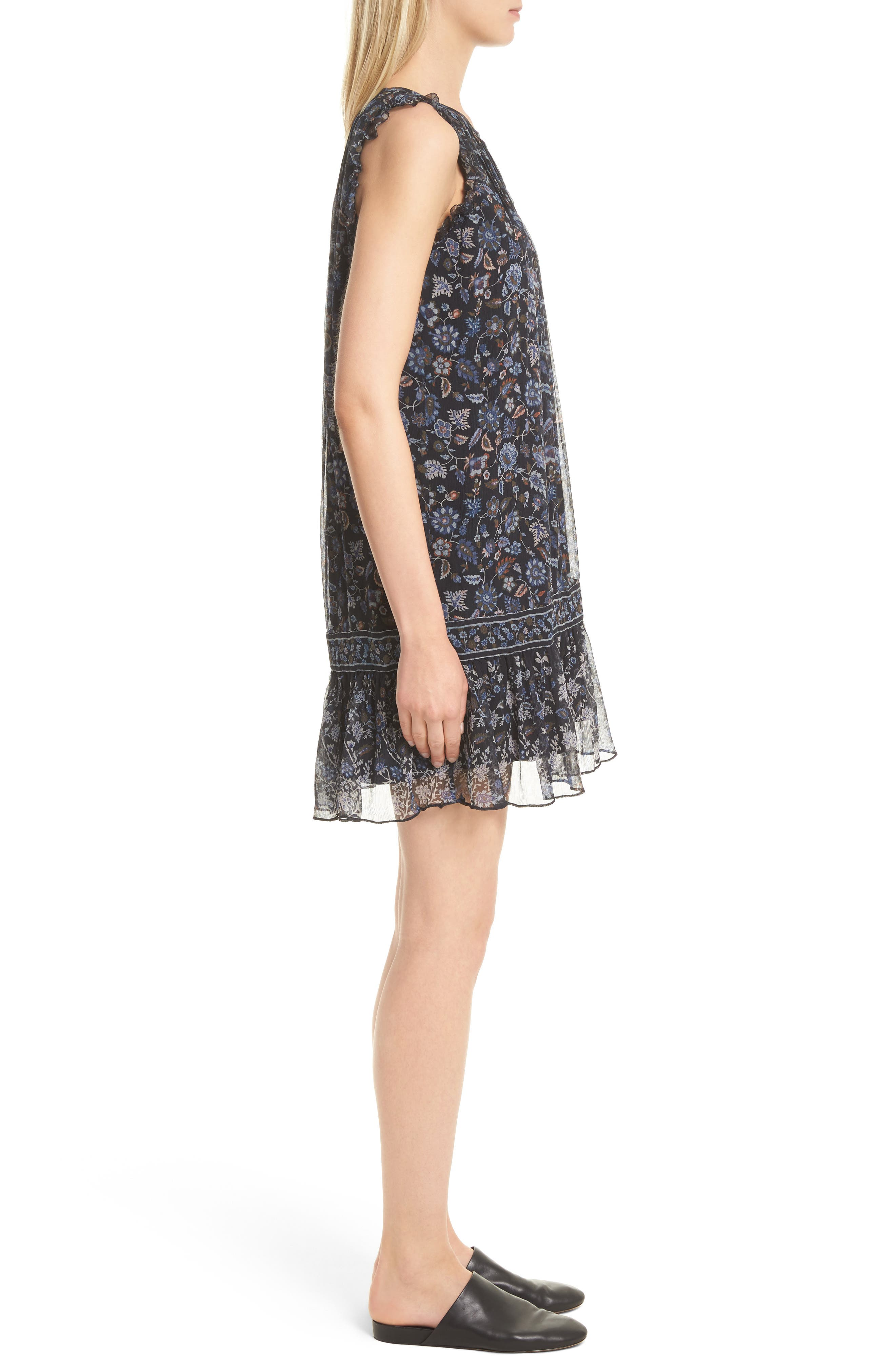 Tahoma B Print Silk Dress,                             Alternate thumbnail 3, color,                             Coralwood