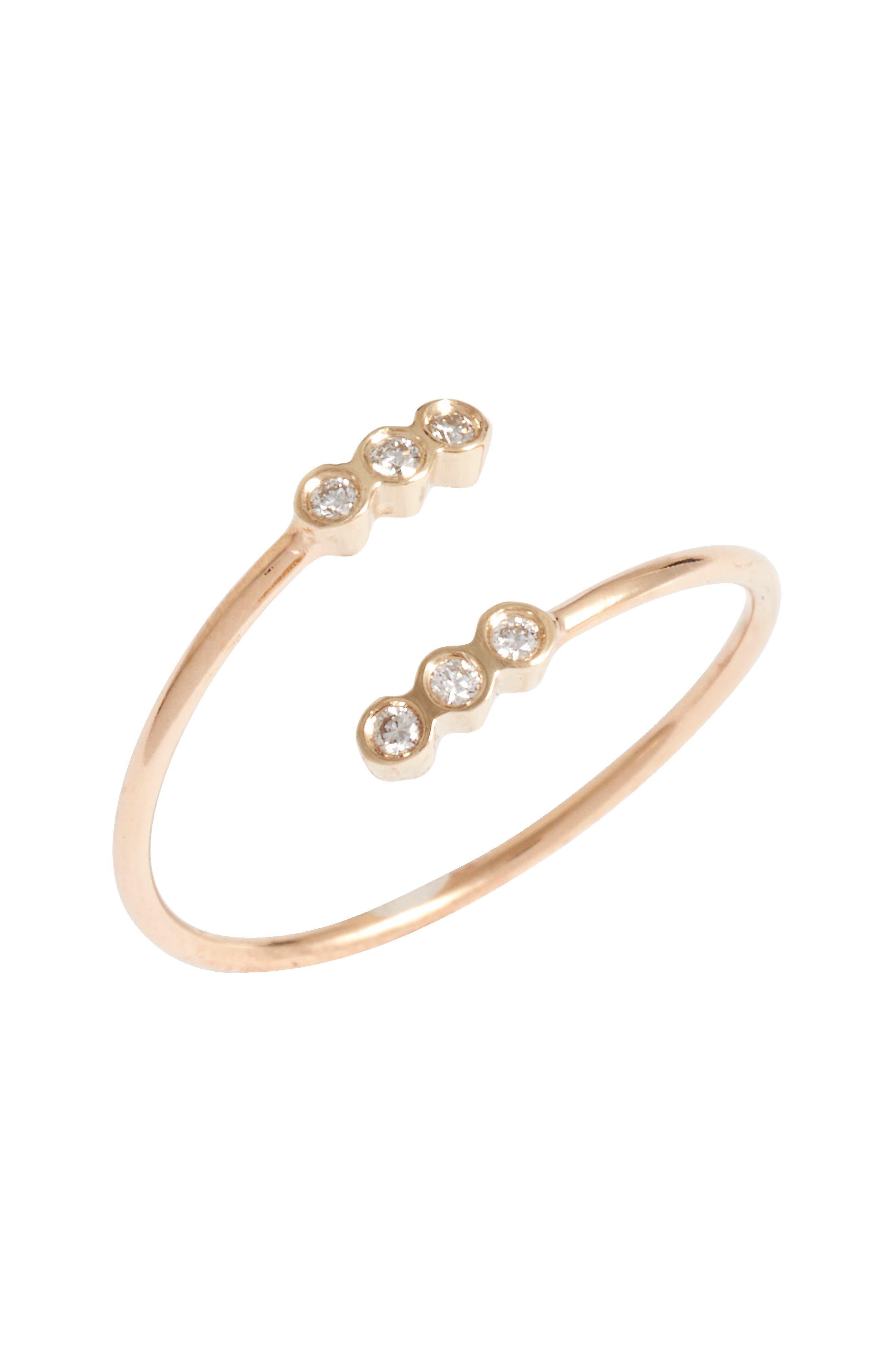 ZOË CHICCO Diamond Bezel Open Ring