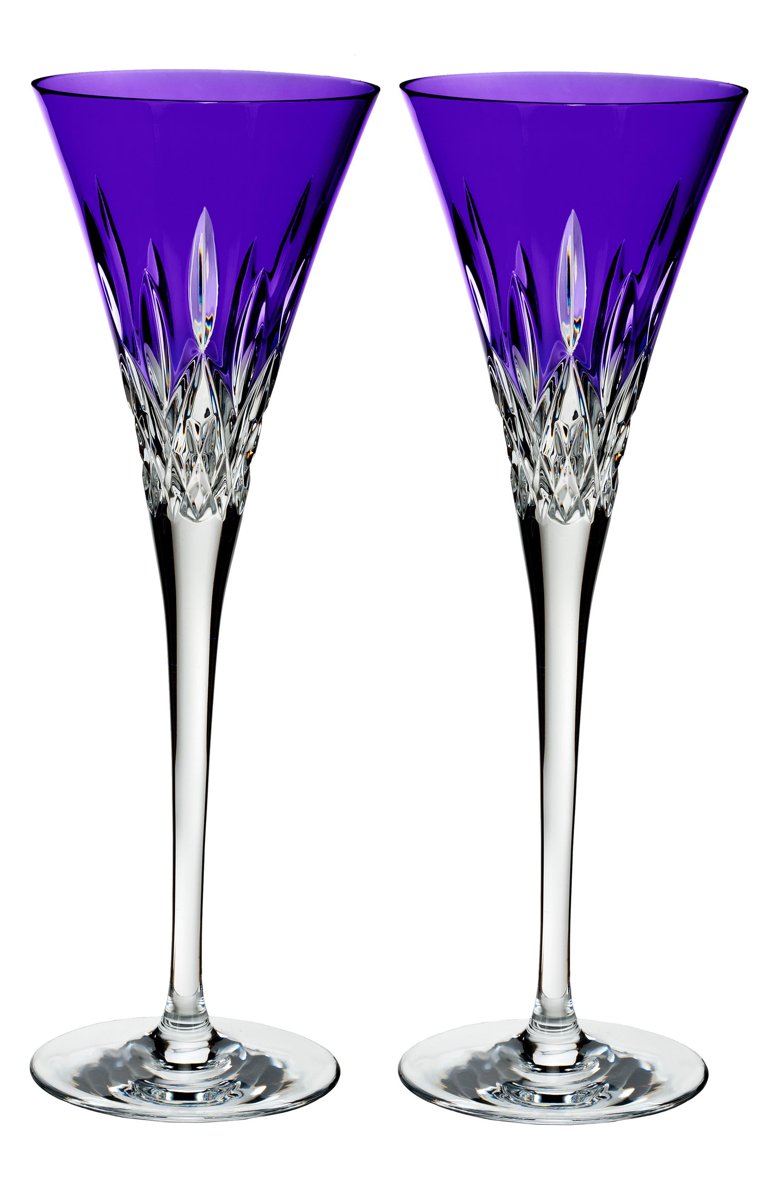 Lismore Pops Set of 2 Purple Lead Crystal Champagne Flutes,                         Main,                         color, Crystal