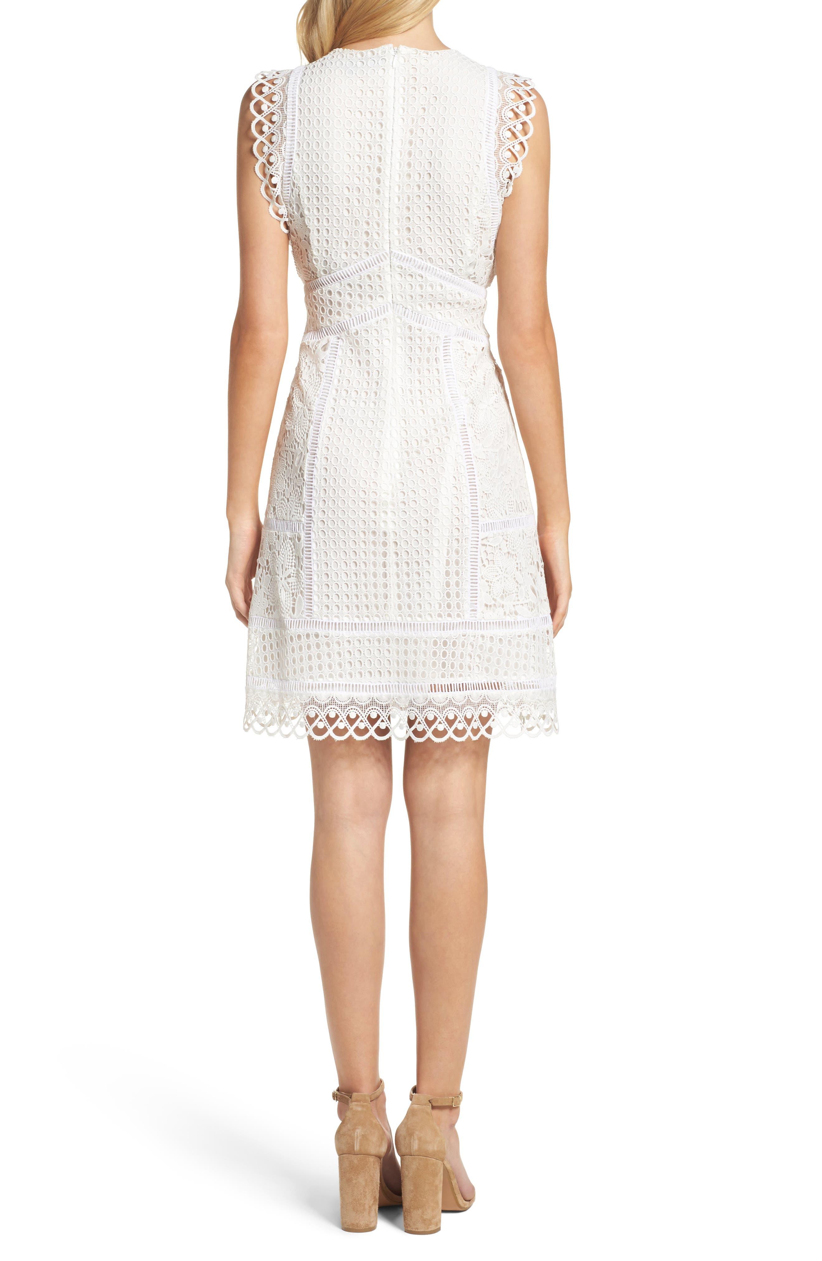 Zahra Fit & Flare Dress,                             Alternate thumbnail 2, color,                             Summer White