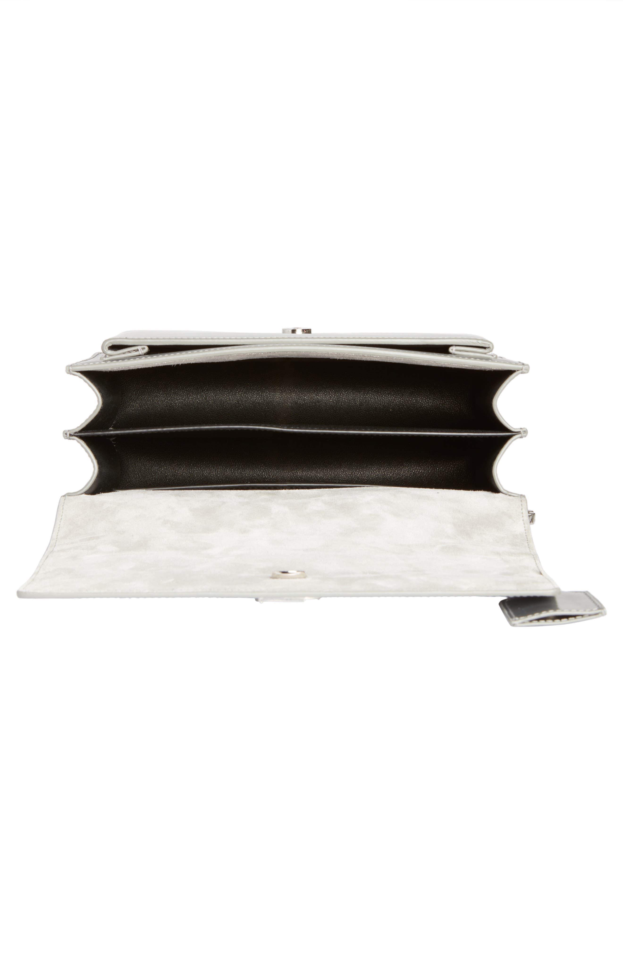 Medium Sunset Opium Leather Crossbody Bag,                             Alternate thumbnail 4, color,                             Dark Silver