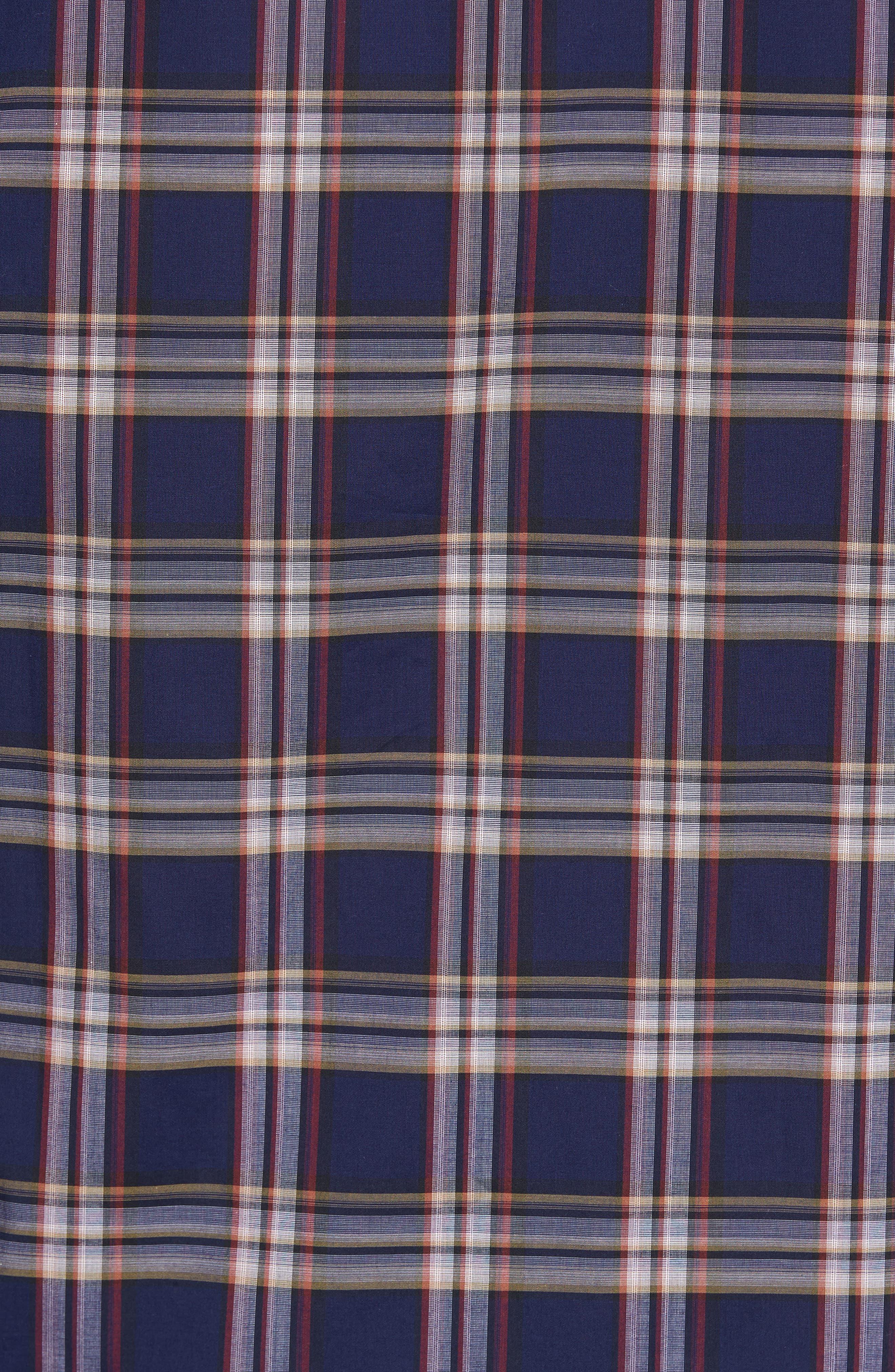 Classic Fit Plaid Sport Shirt,                             Alternate thumbnail 5, color,                             Navy