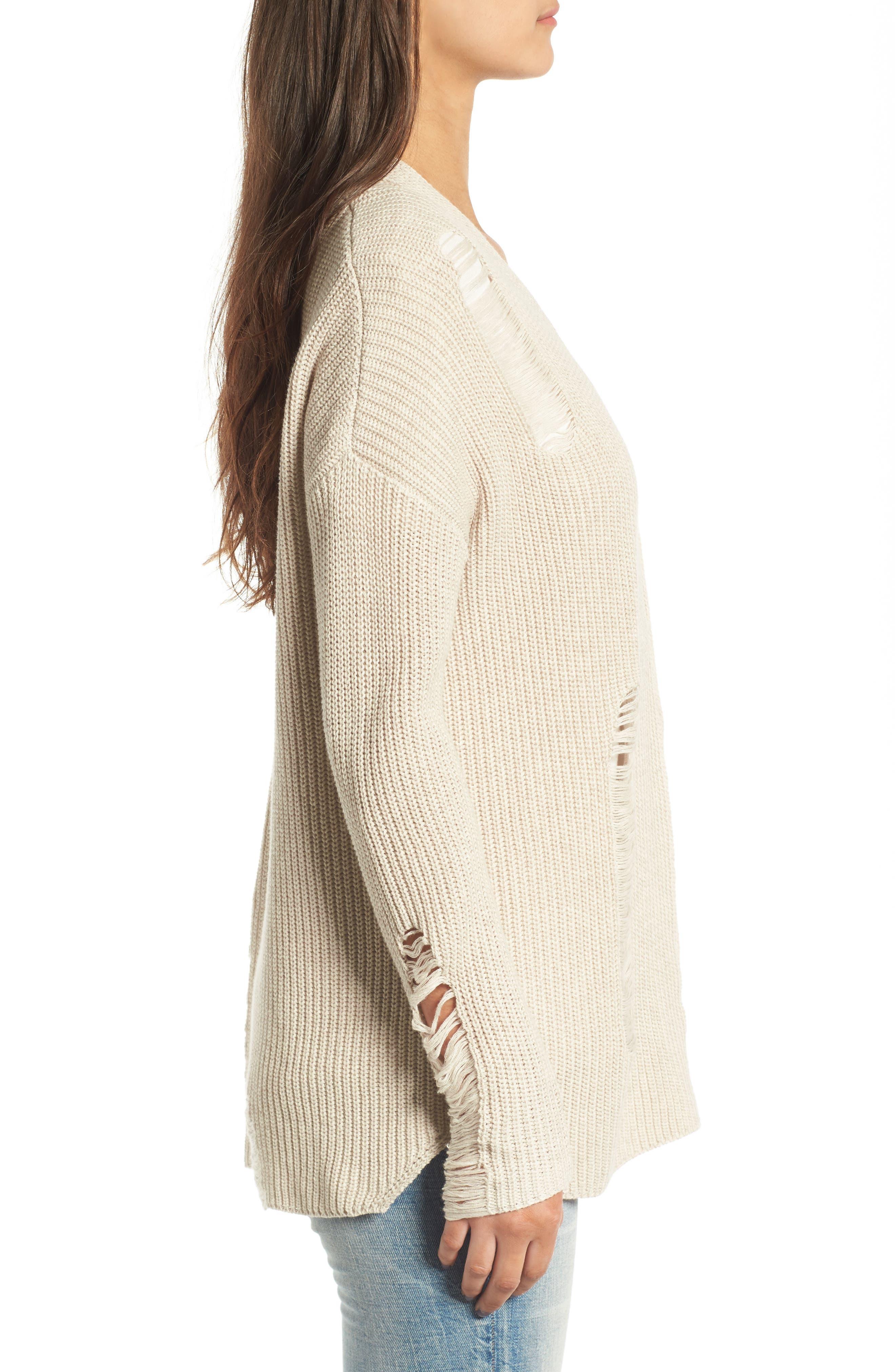 Alternate Image 3  - BP. Distressed Cotton Cardigan