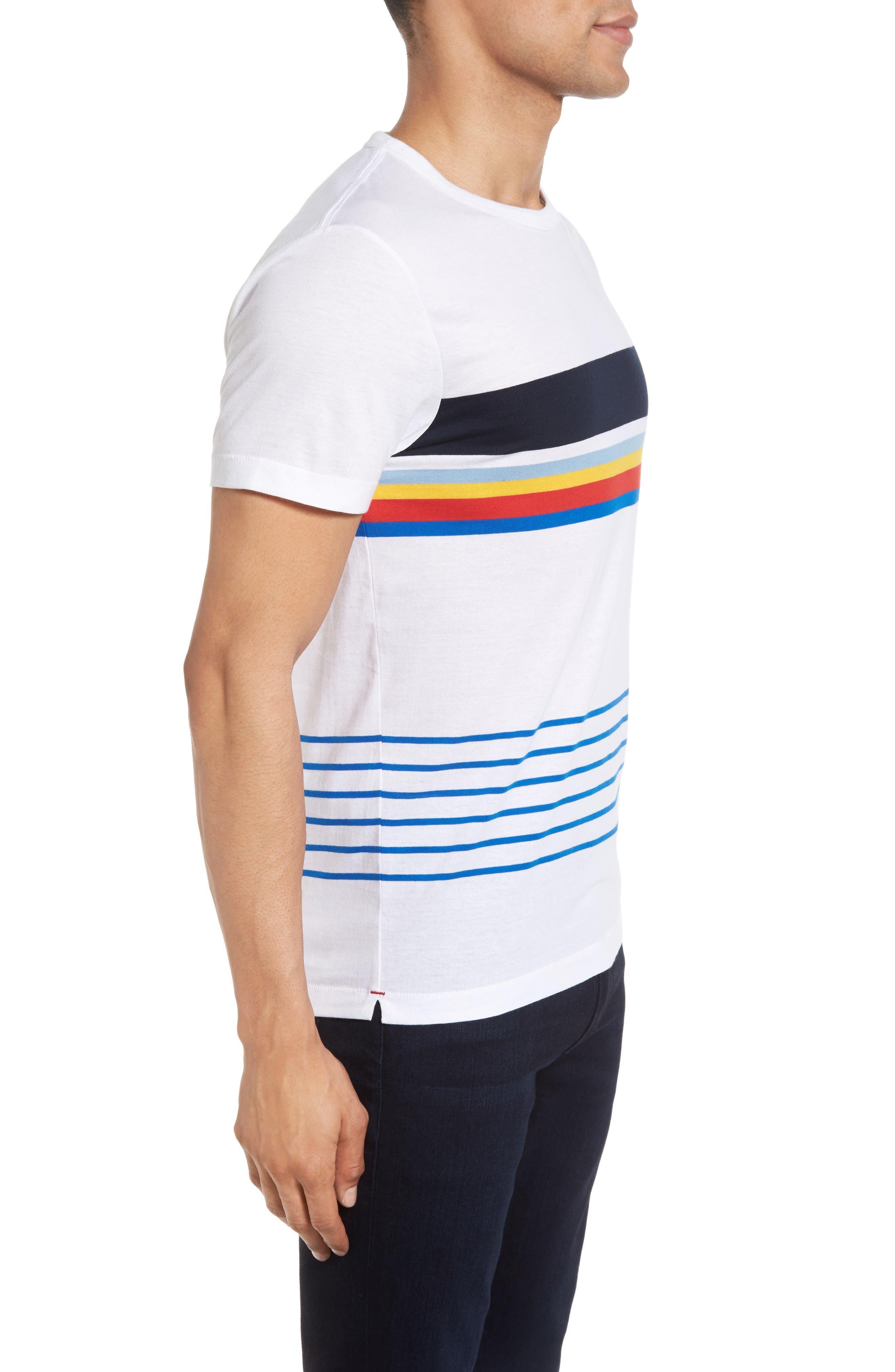 Senior Stripe Slim Fit T-Shirt,                             Alternate thumbnail 3, color,                             White