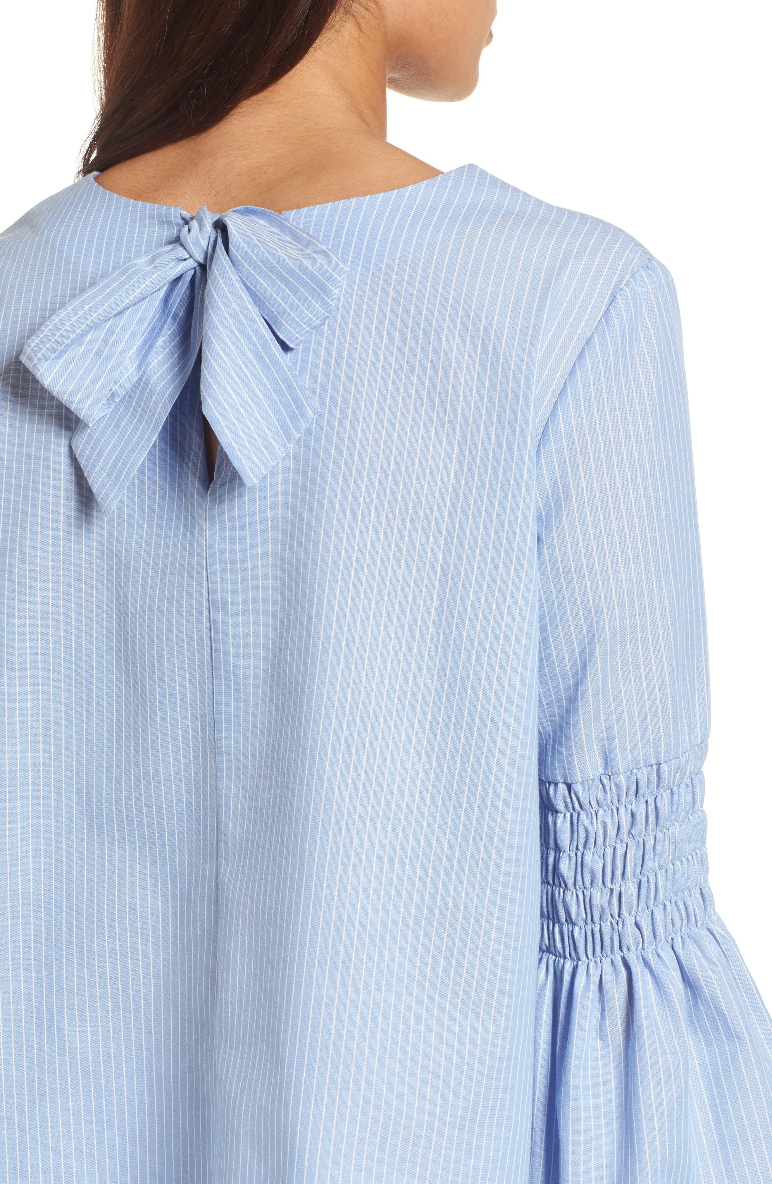 Bow Back Bell Sleeve Top,                             Alternate thumbnail 4, color,                             Light Blue- White Stripe