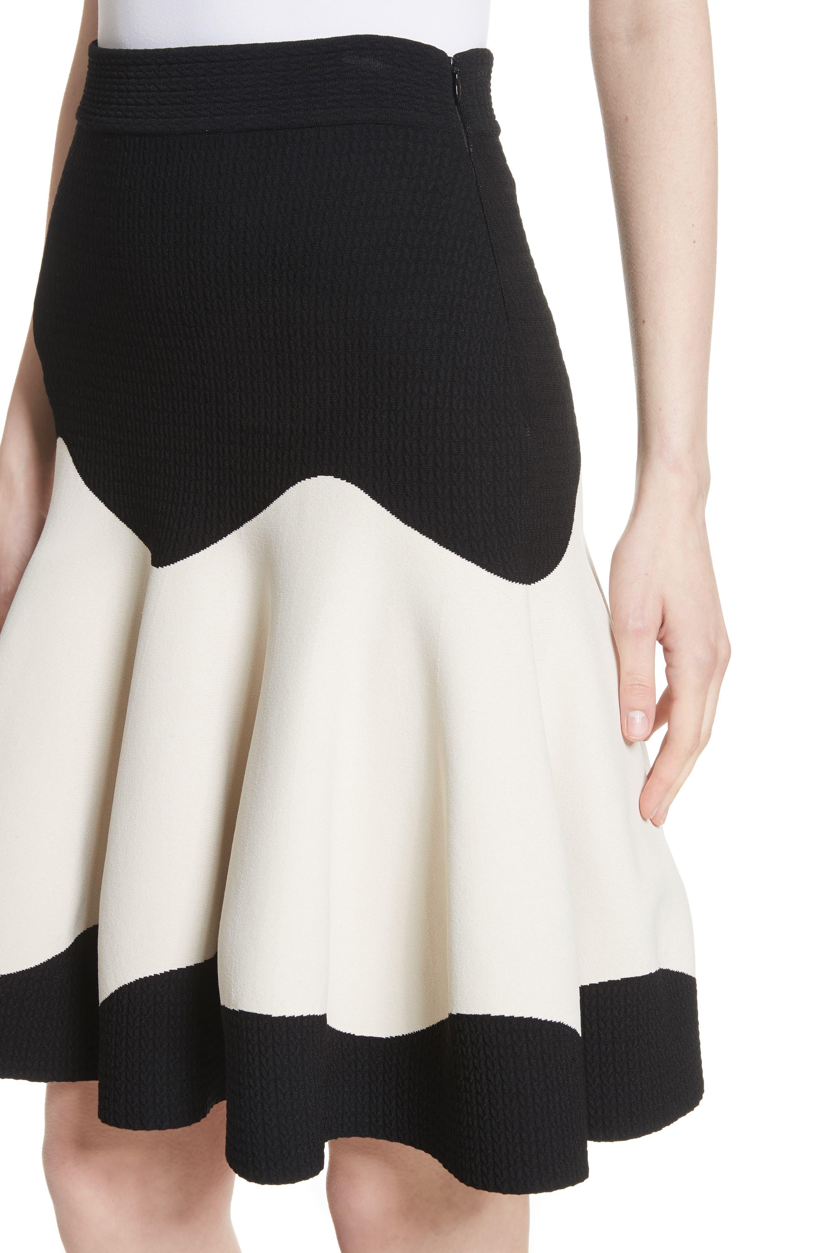 Bicolor Contrast Jacquard Flounce Skirt,                             Alternate thumbnail 6, color,                             Black/ Ivory