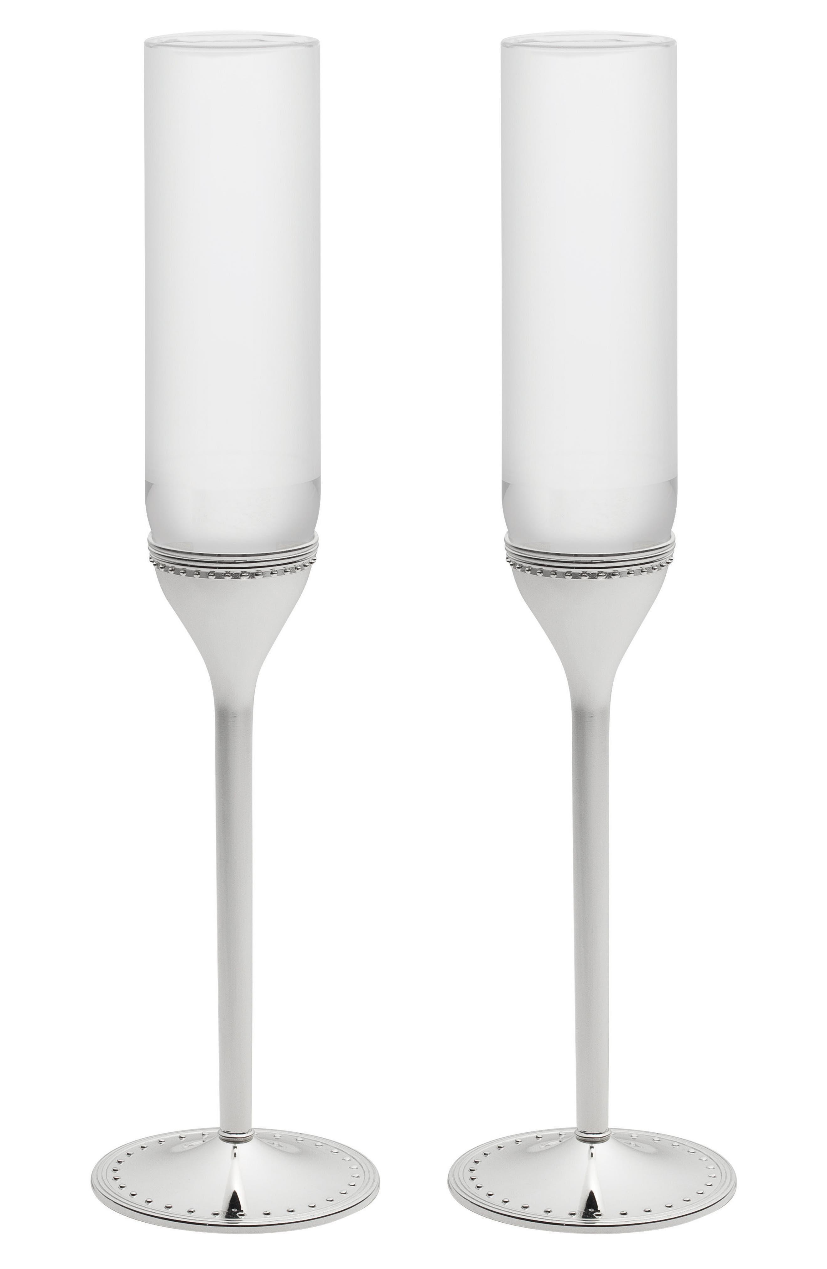x Wedgwood Grosgrain Set of 2 Toasting Flutes,                         Main,                         color, Metallic Silver
