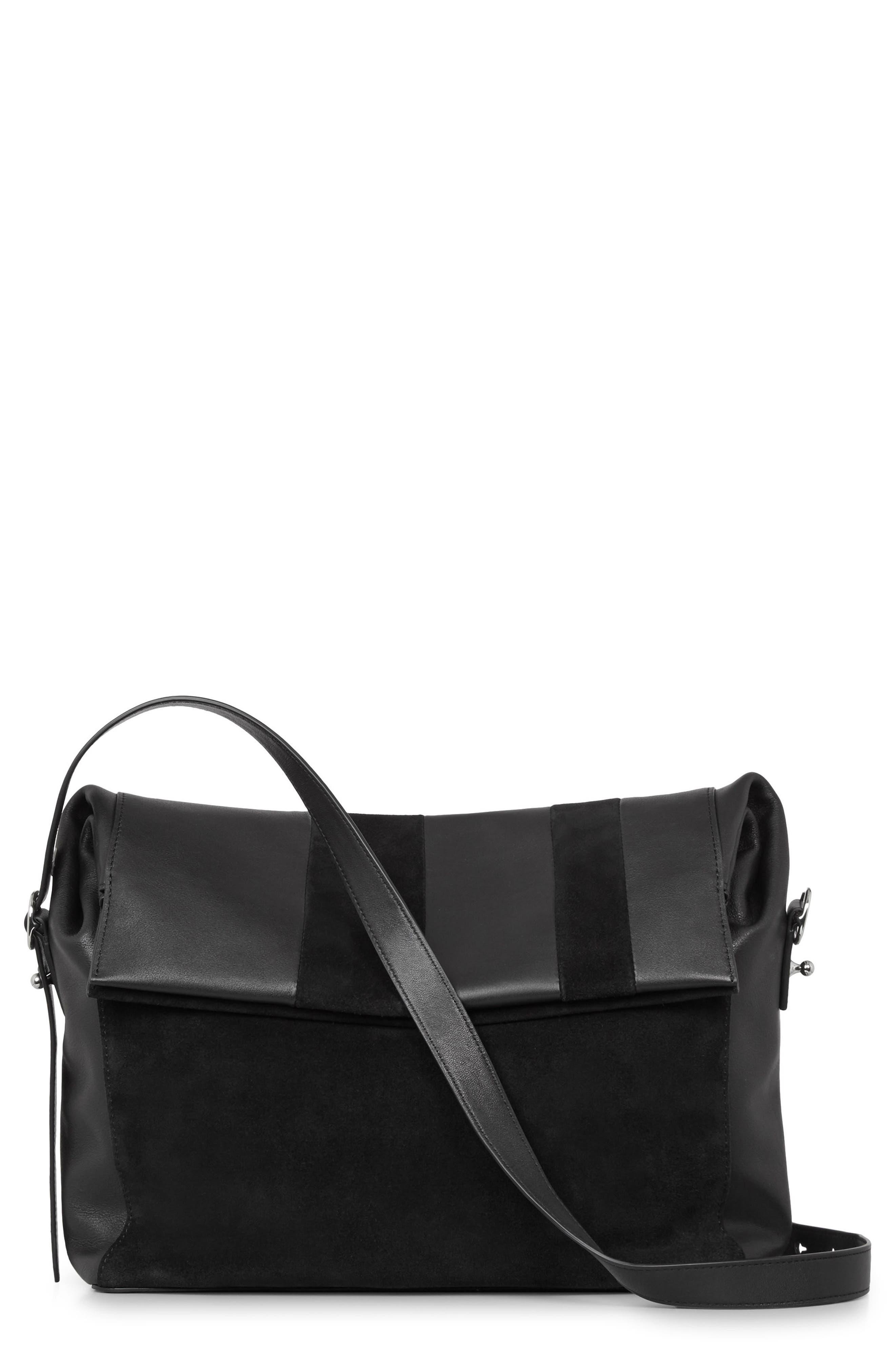 ALLSAINTS Casey Calfskin Leather & Suede Shoulder Bag