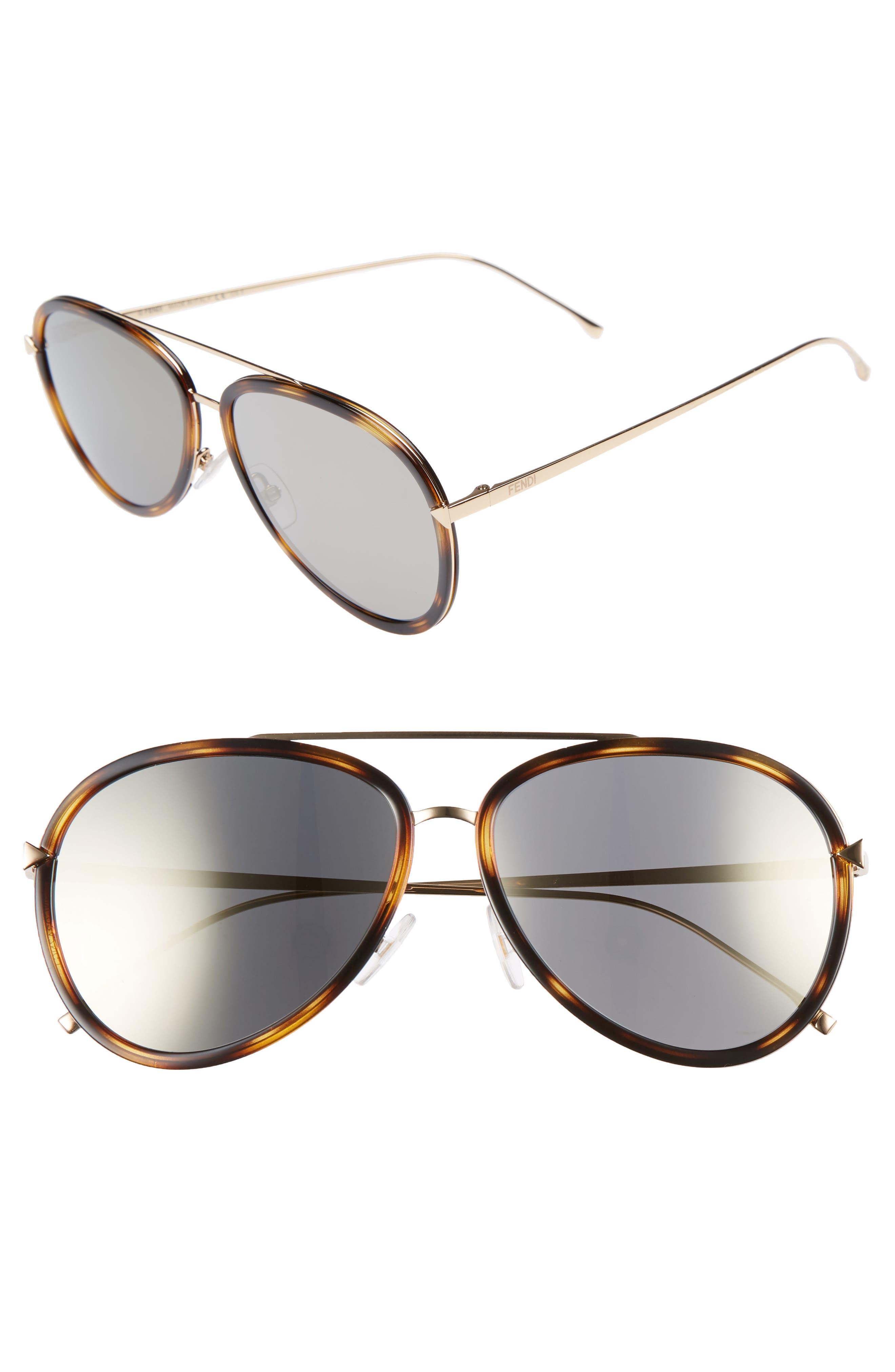 57mm Mirrored Lens Aviator Sunglasses,                             Main thumbnail 1, color,                             Havana Gold