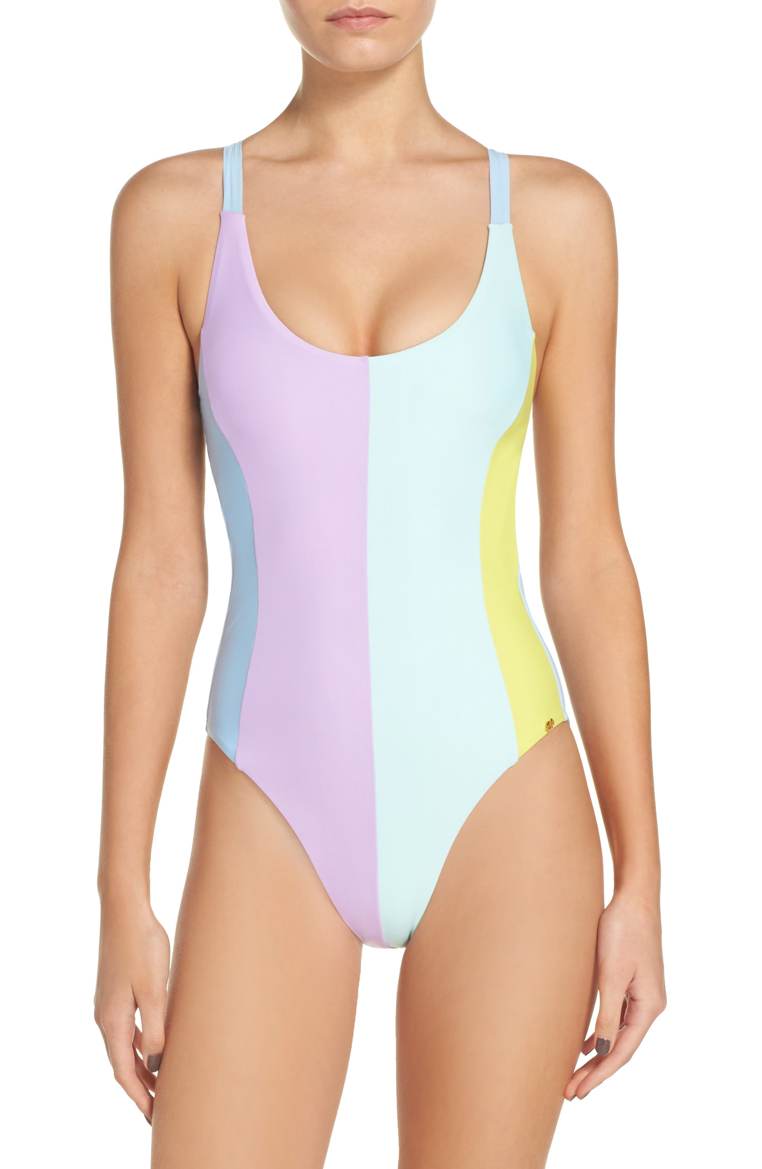 Farrah One-Piece Swimsuit,                         Main,                         color, Blue/ Green
