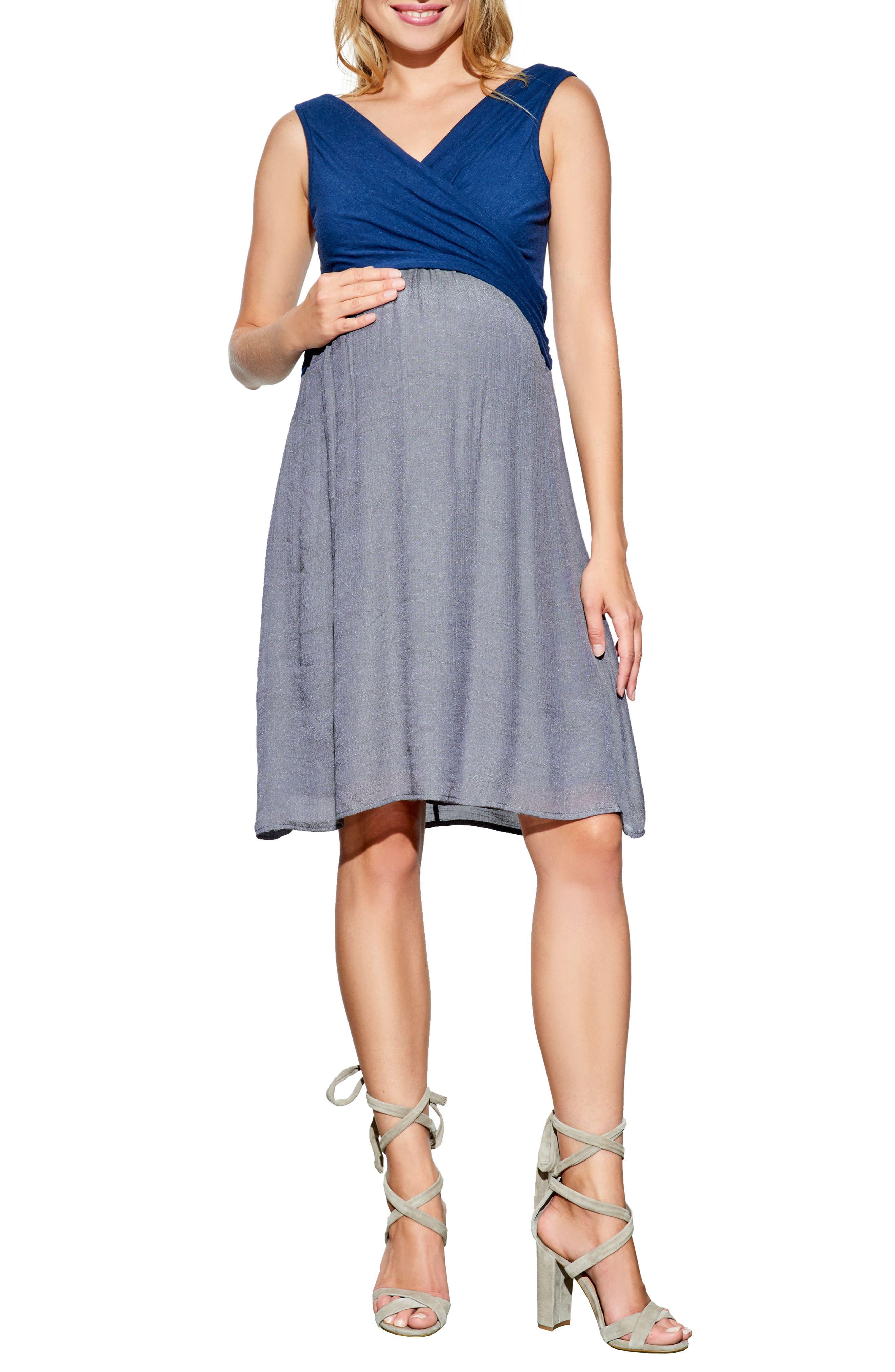 Surplice Babydoll Maternity/Nursing Dress,                         Main,                         color, Navy/ Charcoal