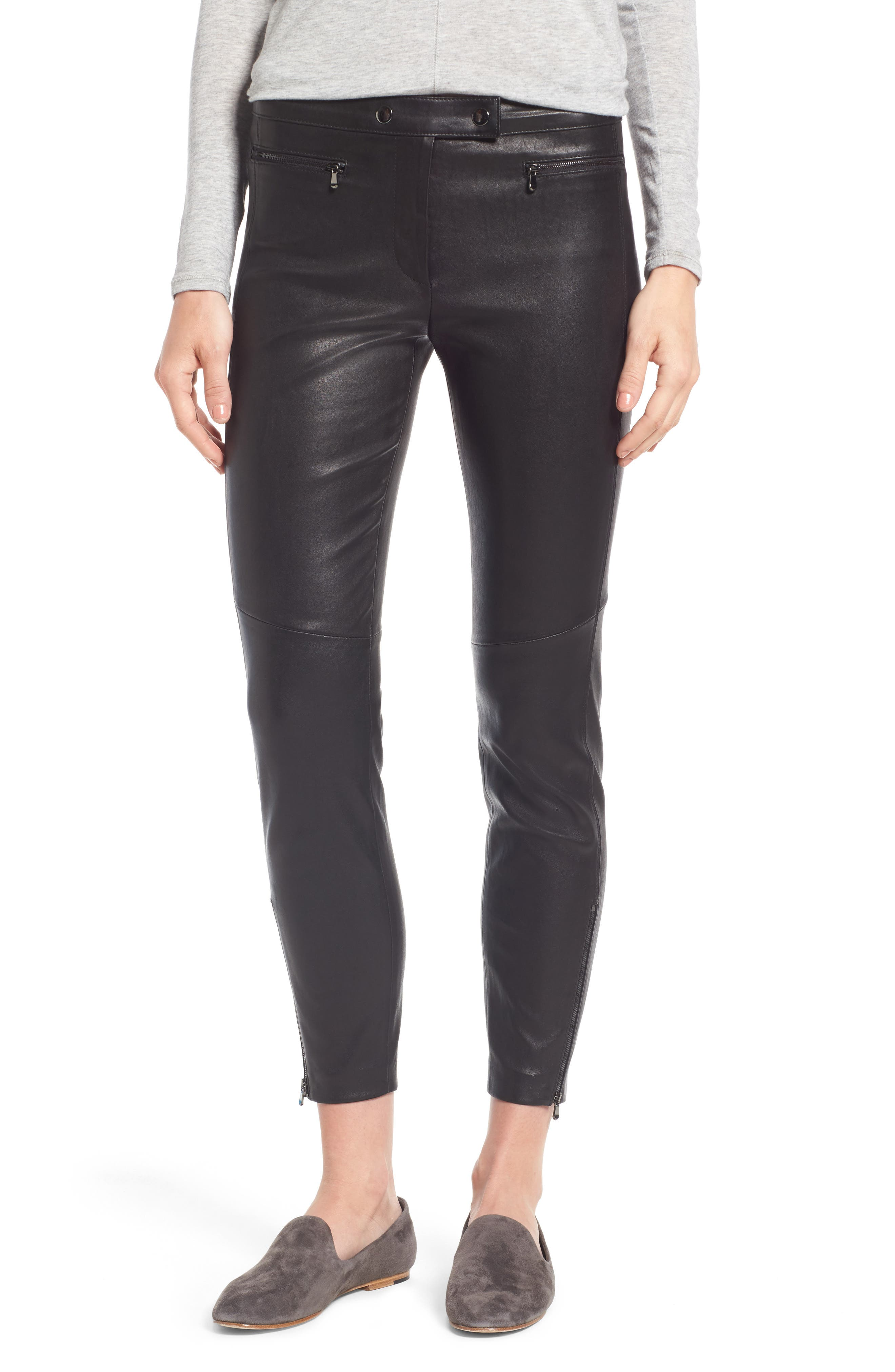 NORDSTROM SIGNATURE Stretch Leather Biker Pants