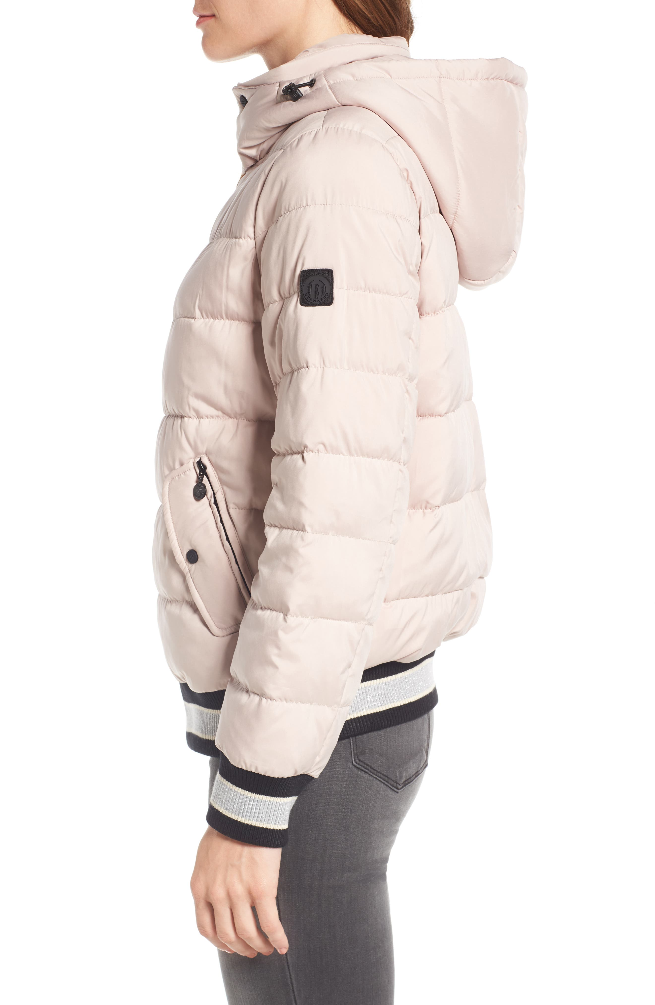 Micro Touch Hooded Quilted Bomber Jacket,                             Alternate thumbnail 3, color,                             Petal Pink
