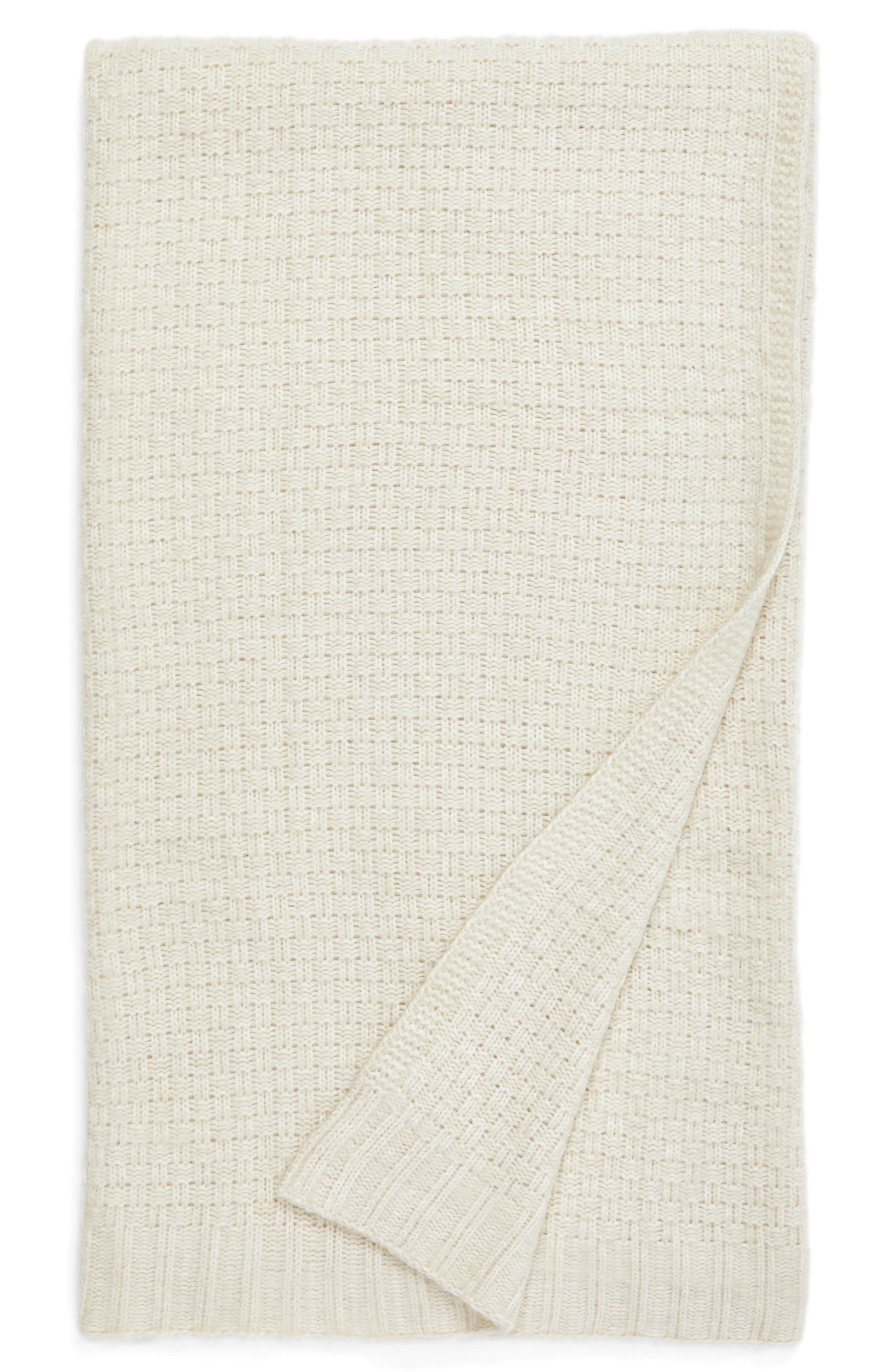 Brushed Seed Stitch Throw Blanket,                             Main thumbnail 1, color,                             Beige Oatmeal Heather