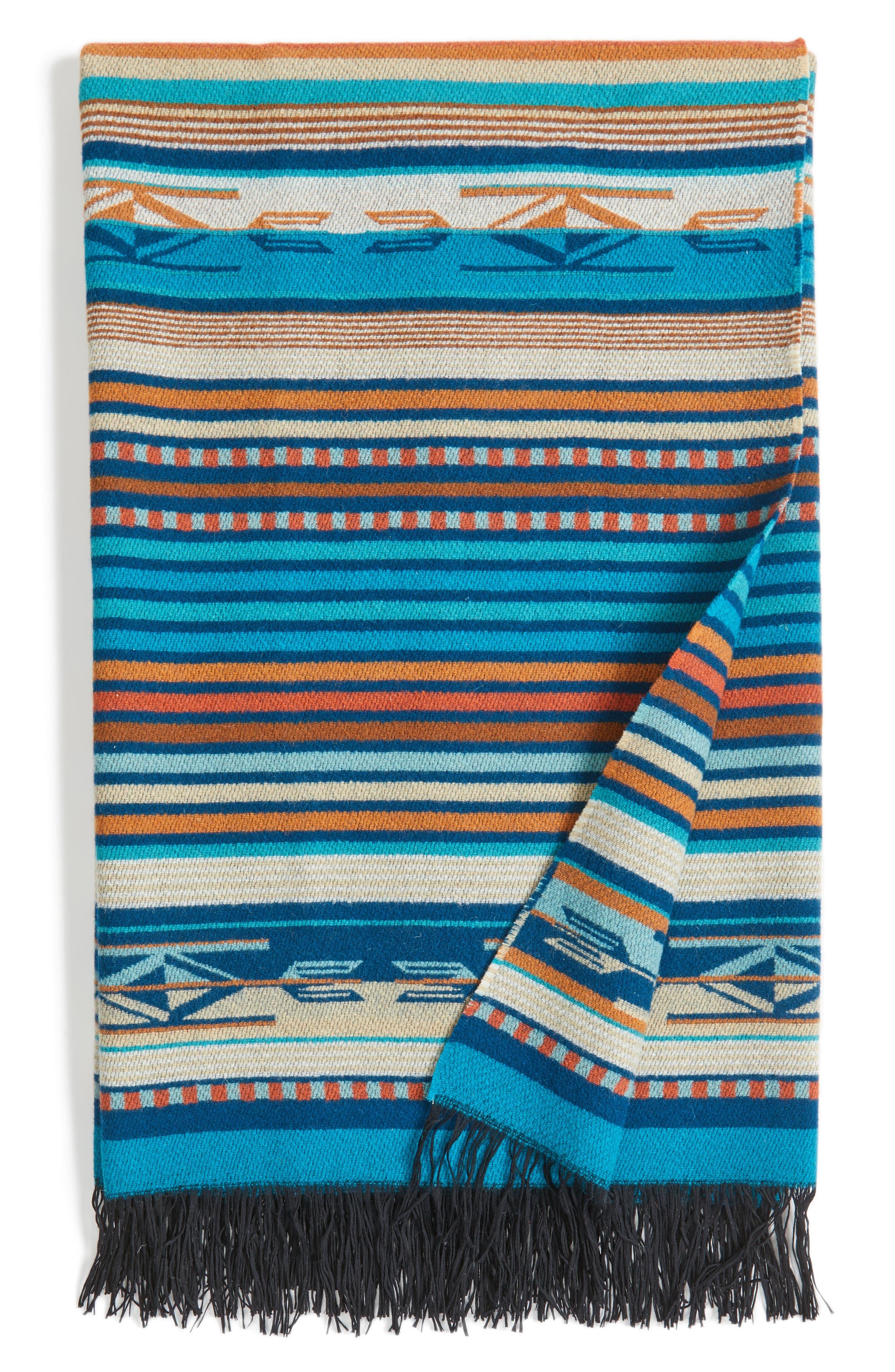 'Chimayo' Fringe Wool Throw,                             Main thumbnail 1, color,                             Turquoise