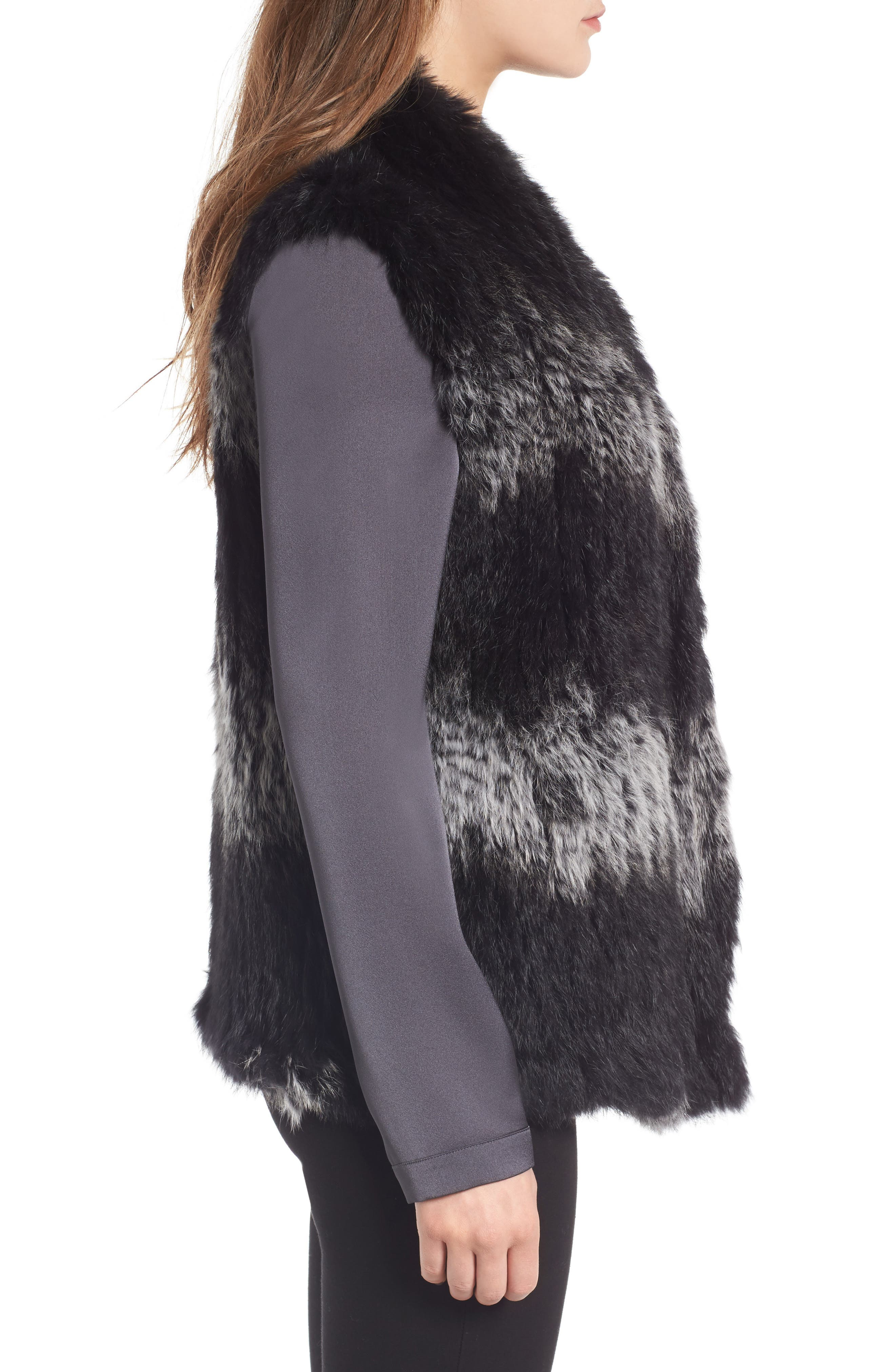 Genuine Rabbit Fur Vest,                             Alternate thumbnail 3, color,                             Black W/ Snow