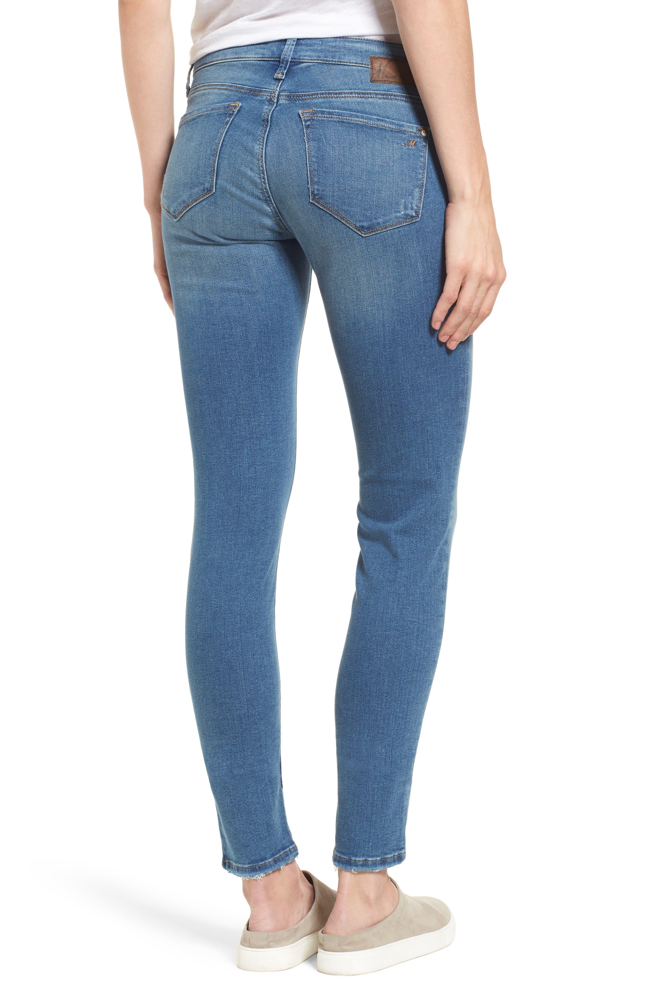 Alternate Image 2  - Mavi Jeans Adriana Stretch Skinny Jeans (Mid Destroyed Tribecca)