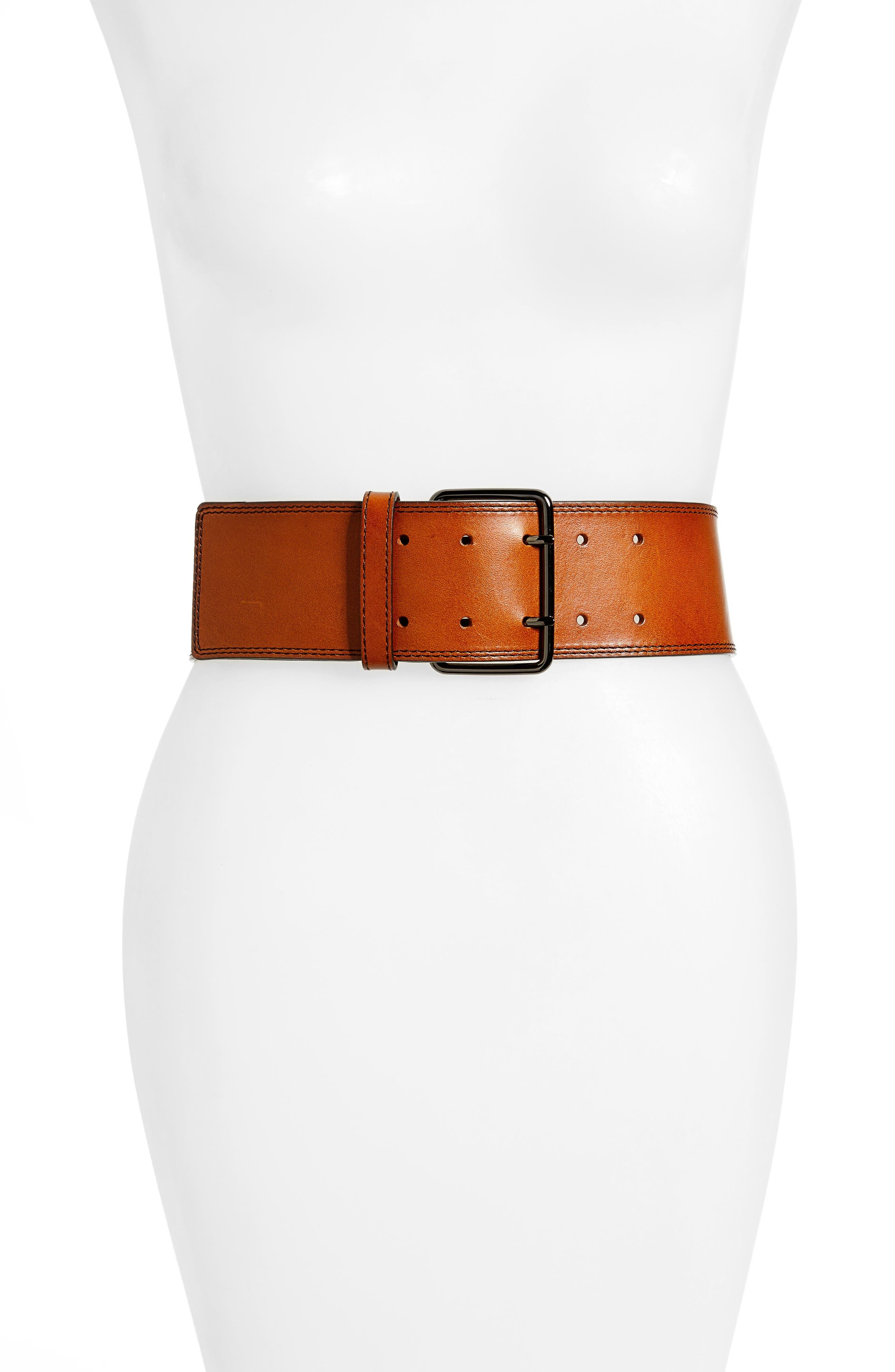 Wide Leather Belt,                         Main,                         color, Cognac