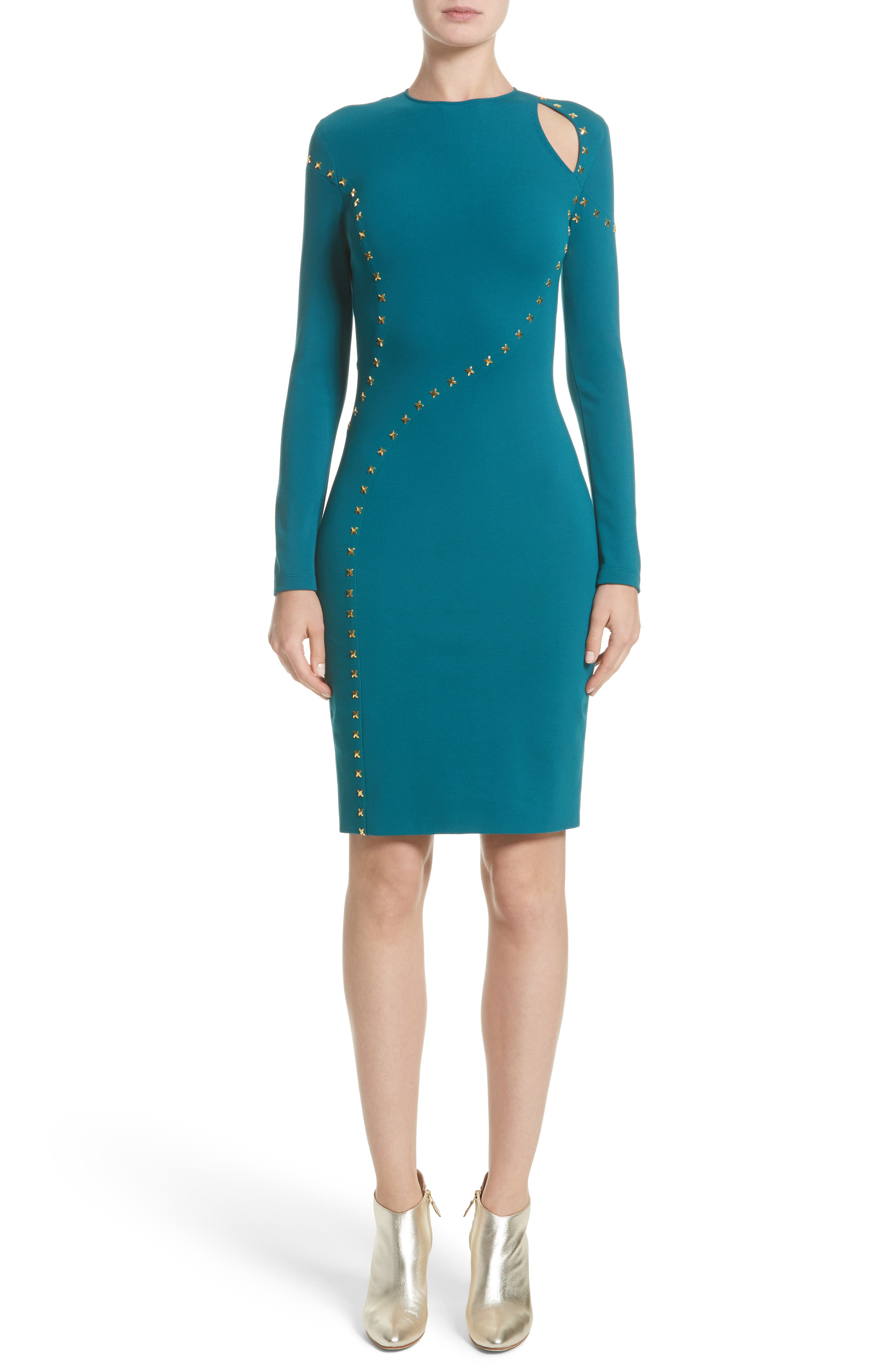 Collection Studded Cutout Dress,                             Main thumbnail 1, color,                             Peacock/ Gold