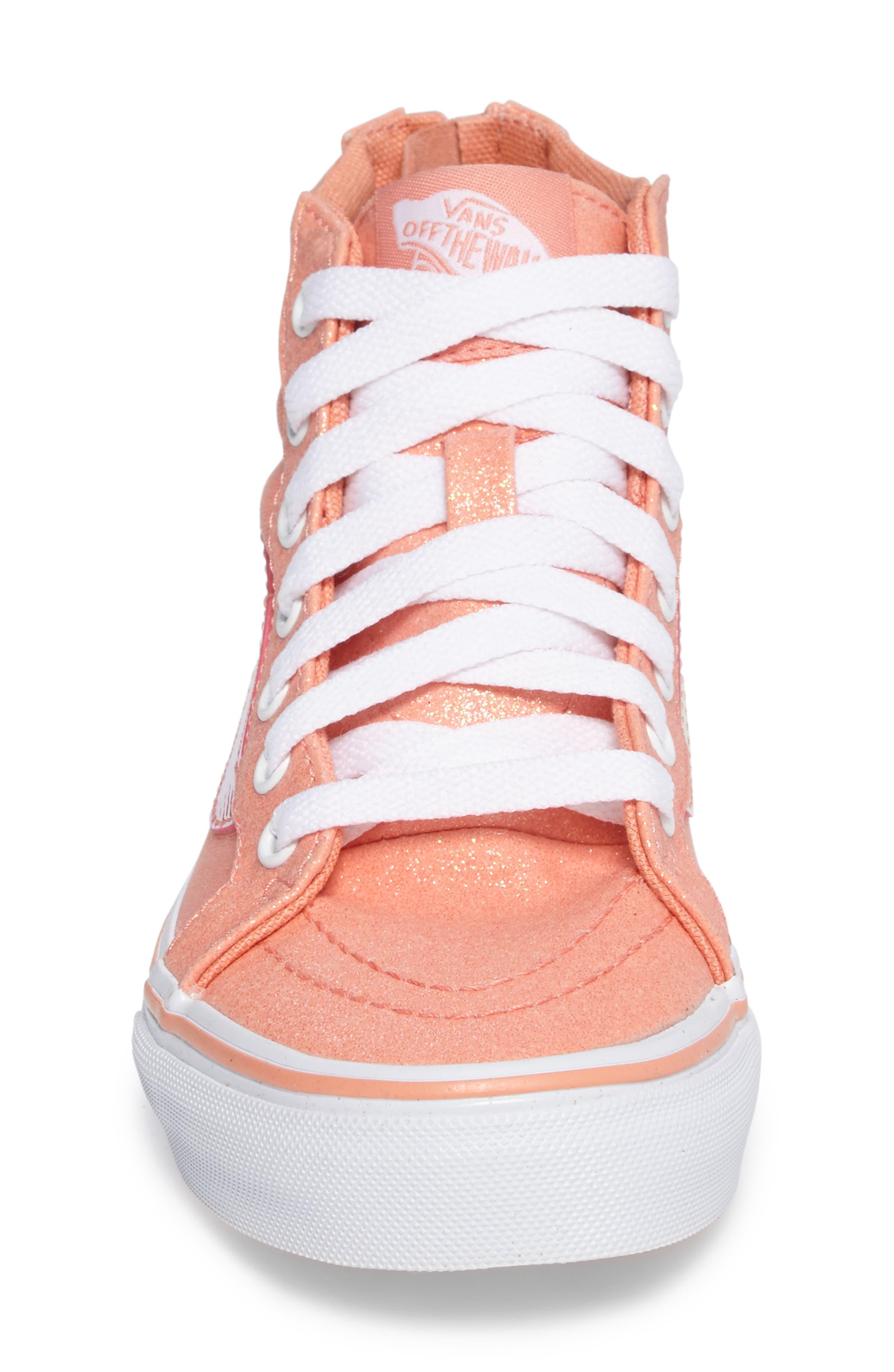 Sk8-Hi Zip Sneaker,                             Alternate thumbnail 4, color,                             Coral Glitter/ Iridescent