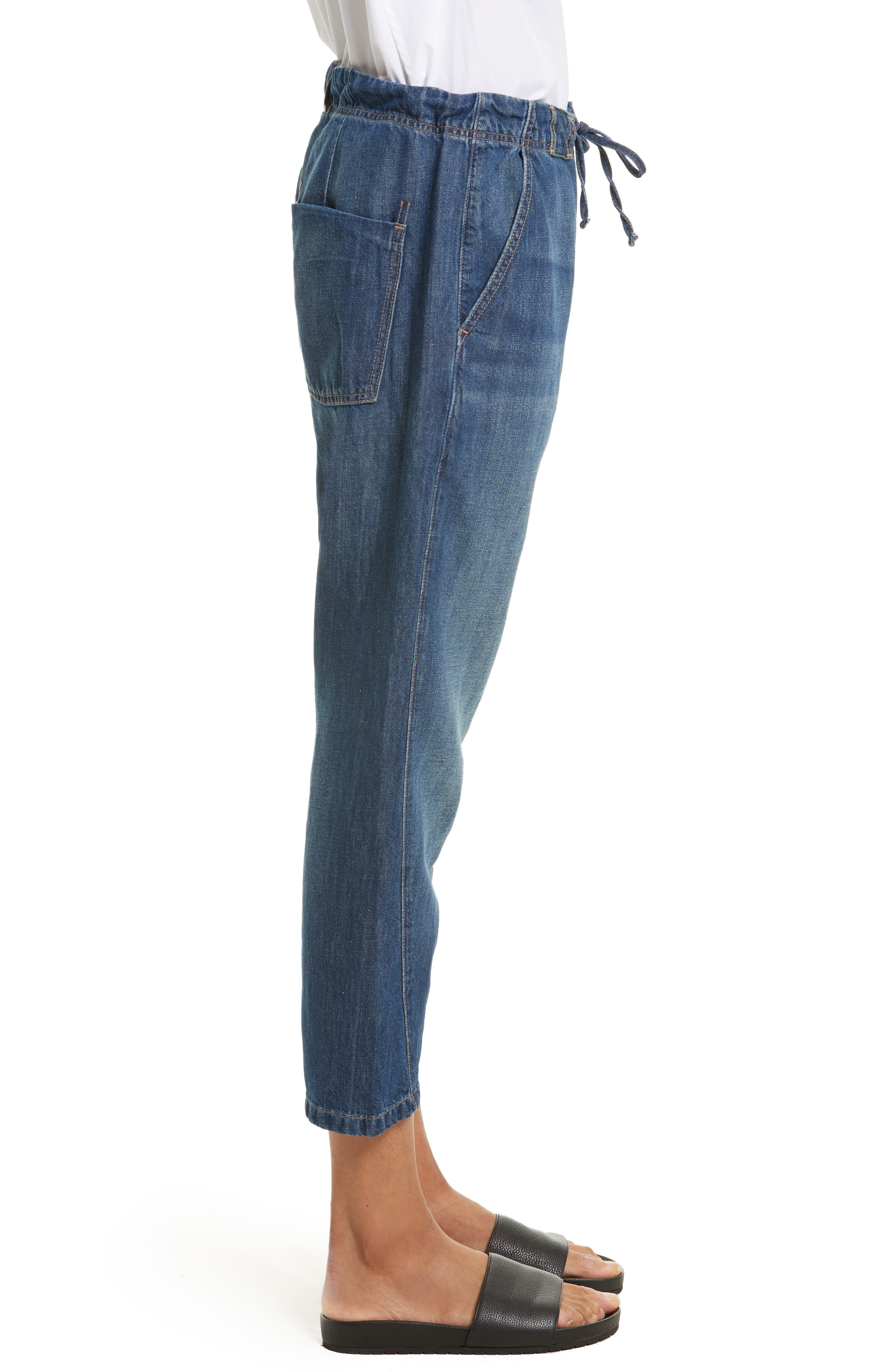 Alternate Image 3  - Vince Cotton & Linen Denim Drawstring Workwear Trousers