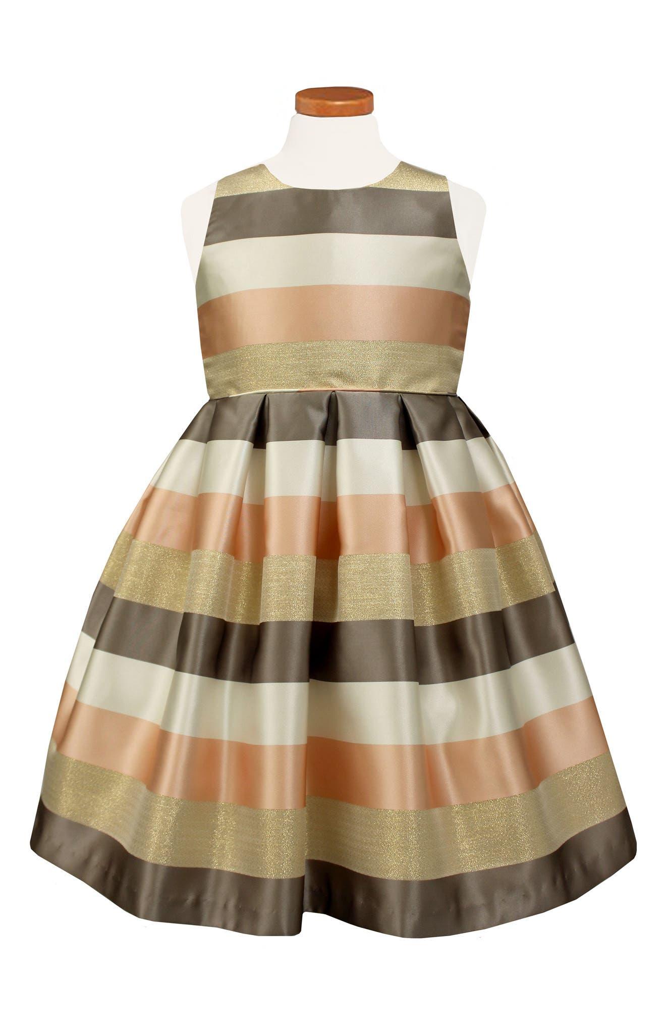 Metallic Stripe Party Dress,                         Main,                         color, Blush