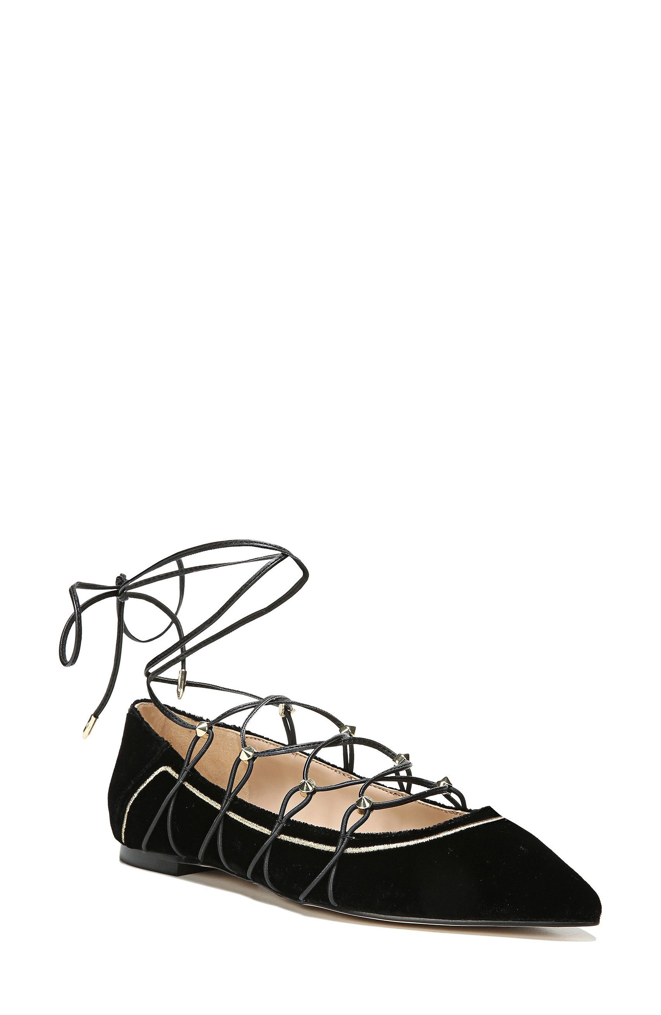 Rockwell Ghillie Pointy Toe Flat,                             Main thumbnail 1, color,                             Black Velvet