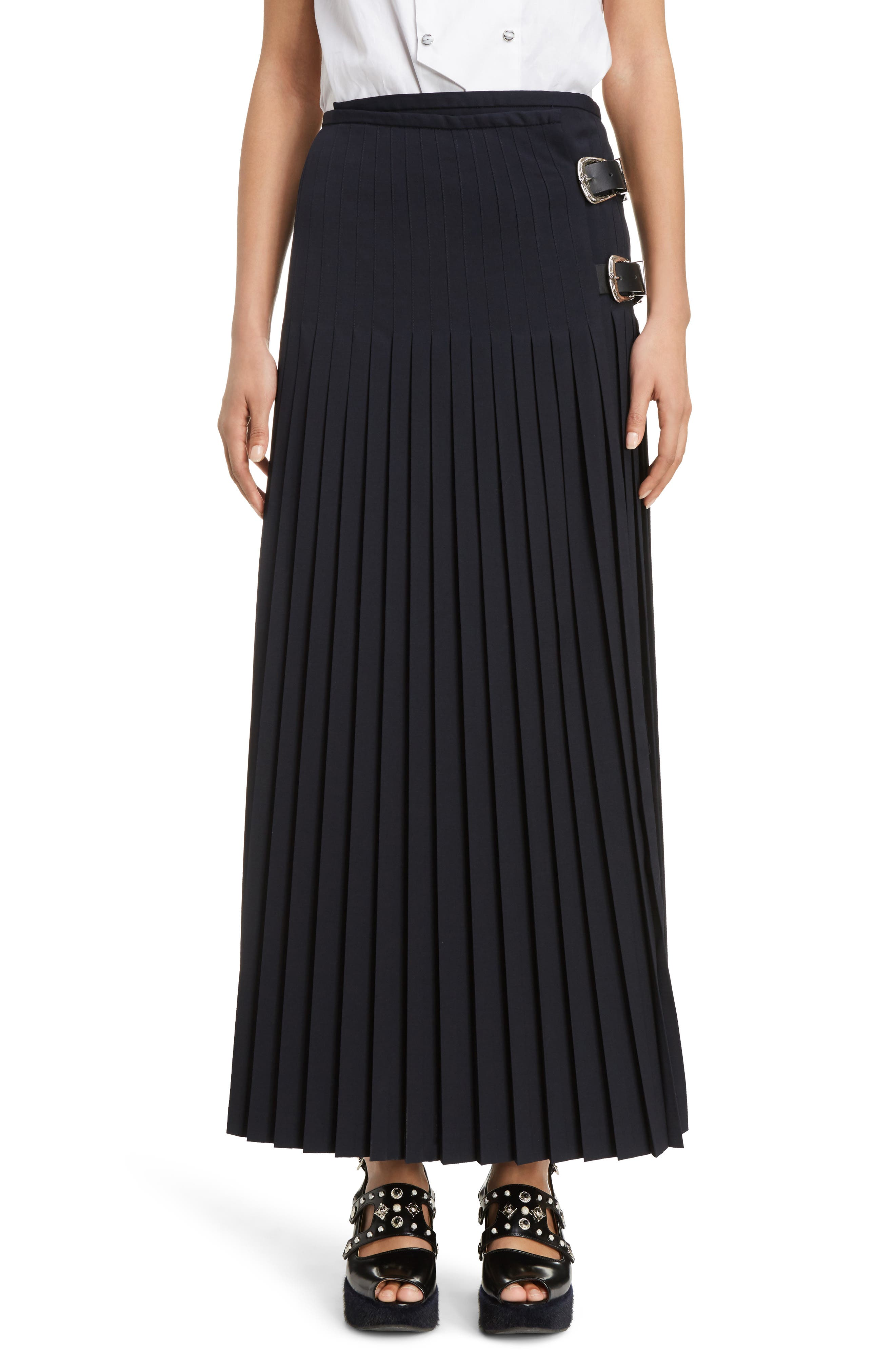 Pleated Wool Blend Skirt,                         Main,                         color, Navy