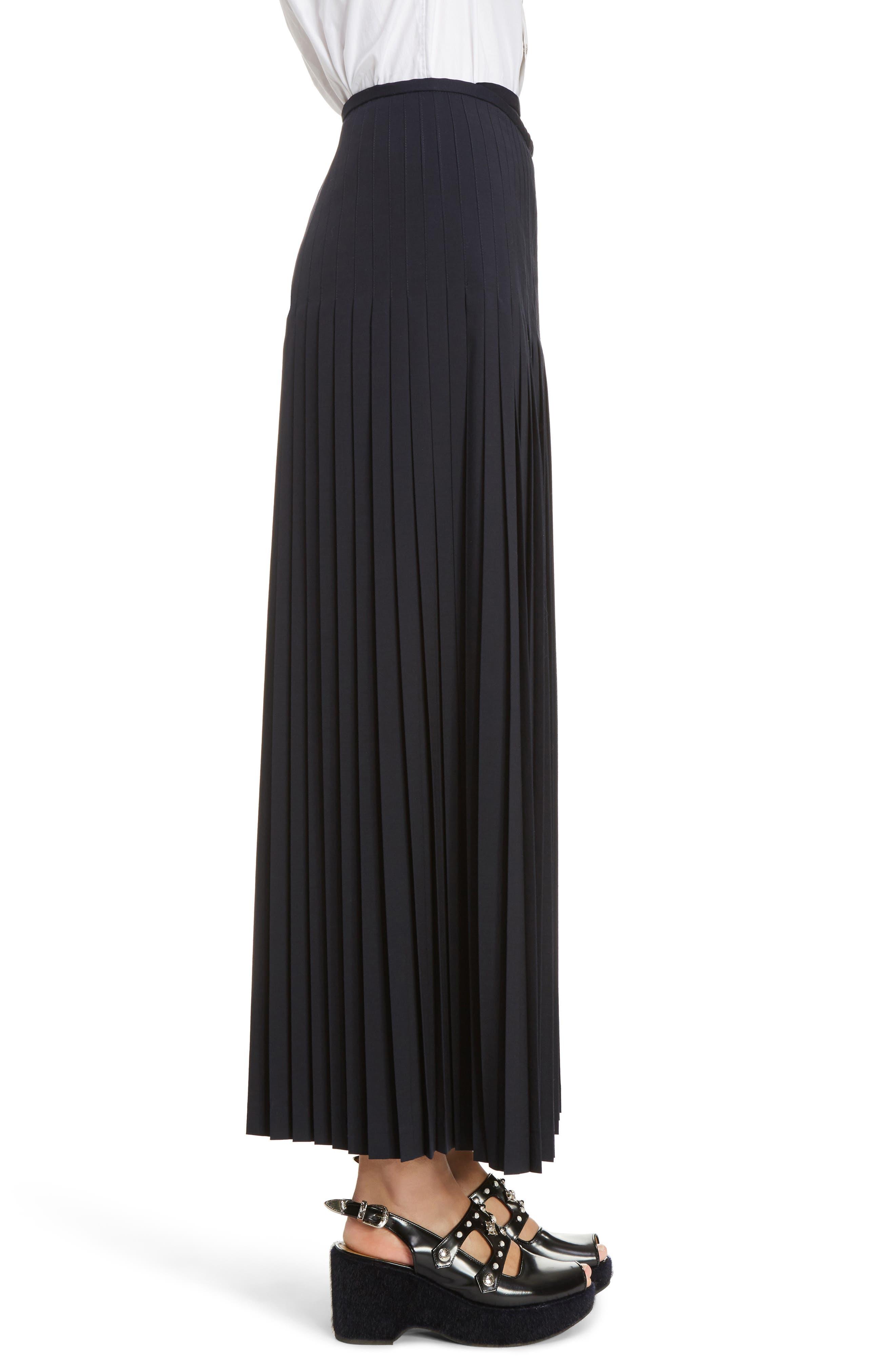 Pleated Wool Blend Skirt,                             Alternate thumbnail 4, color,                             Navy