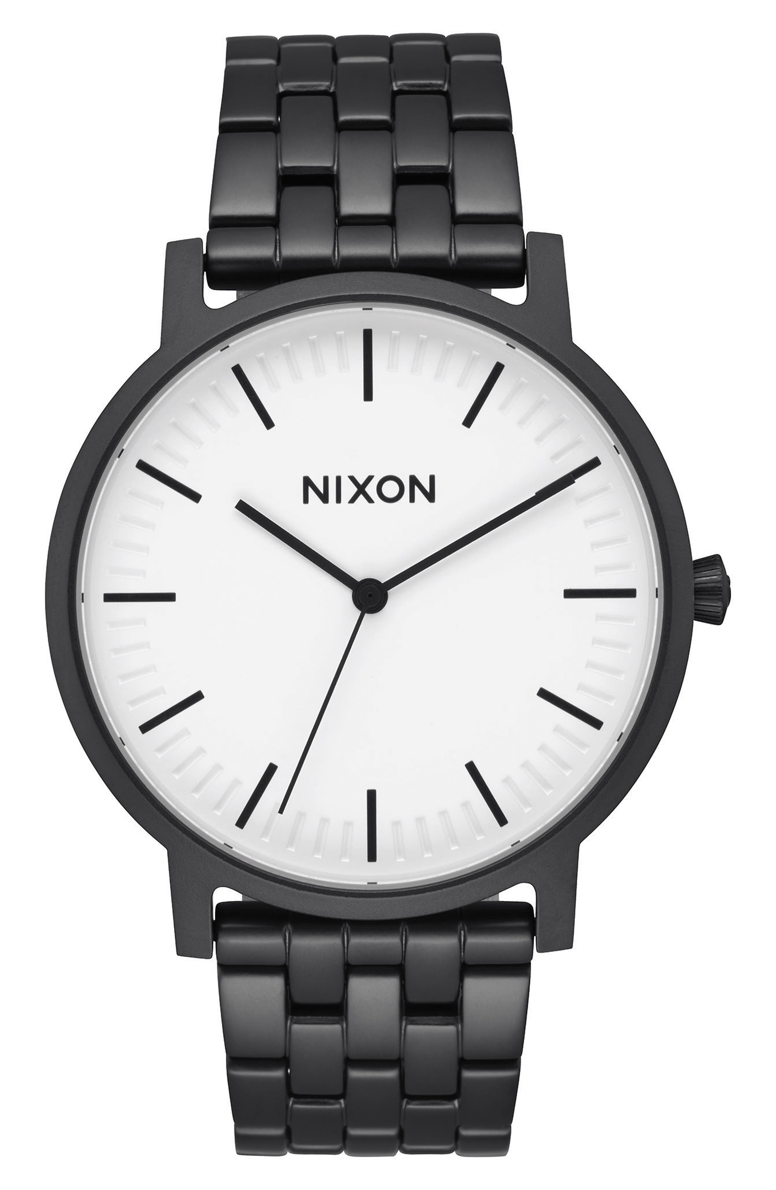 Porter Bracelet Watch, 40mm,                         Main,                         color, Matte Black/ White/ Black