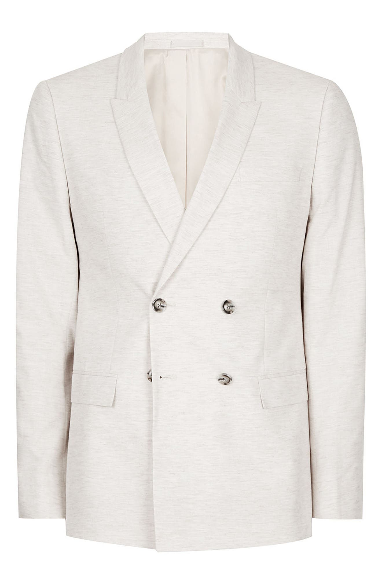 Alternate Image 6  - Topman Skinny Fit Double Breasted Marled Suit Jacket