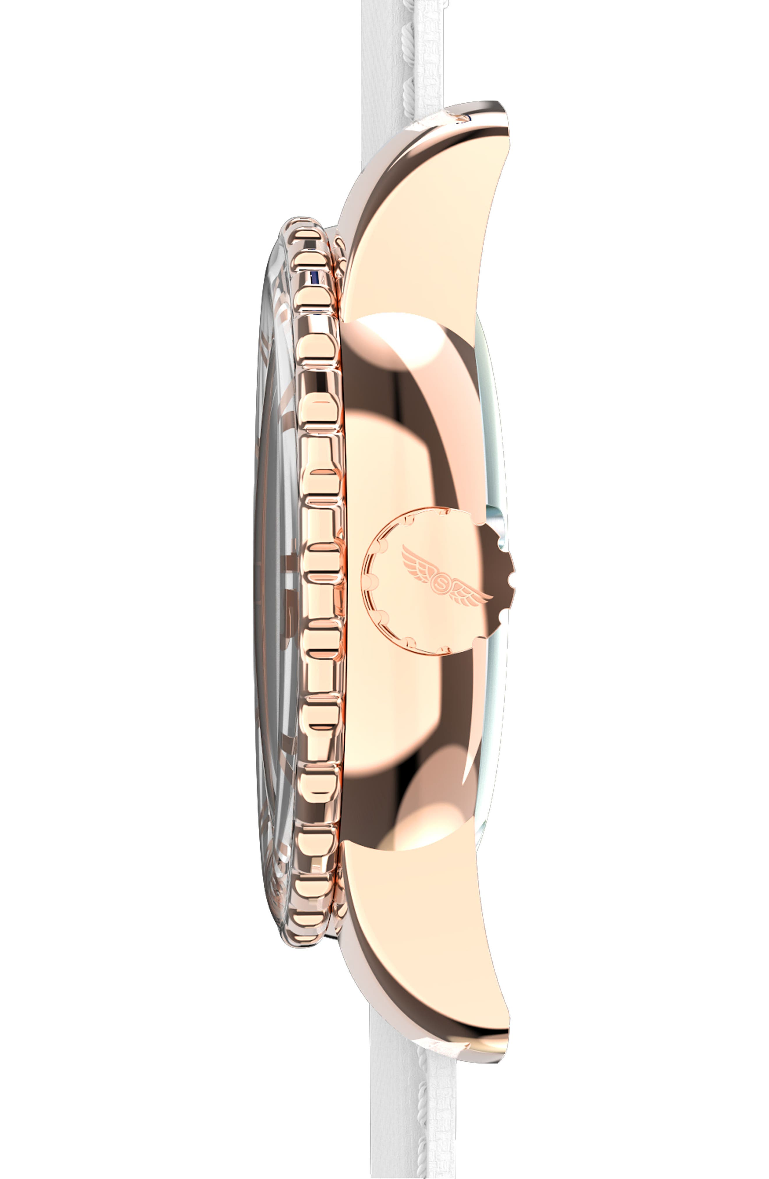 Classic Woven Strap Watch, 44mm,                             Alternate thumbnail 3, color,                             White/ White