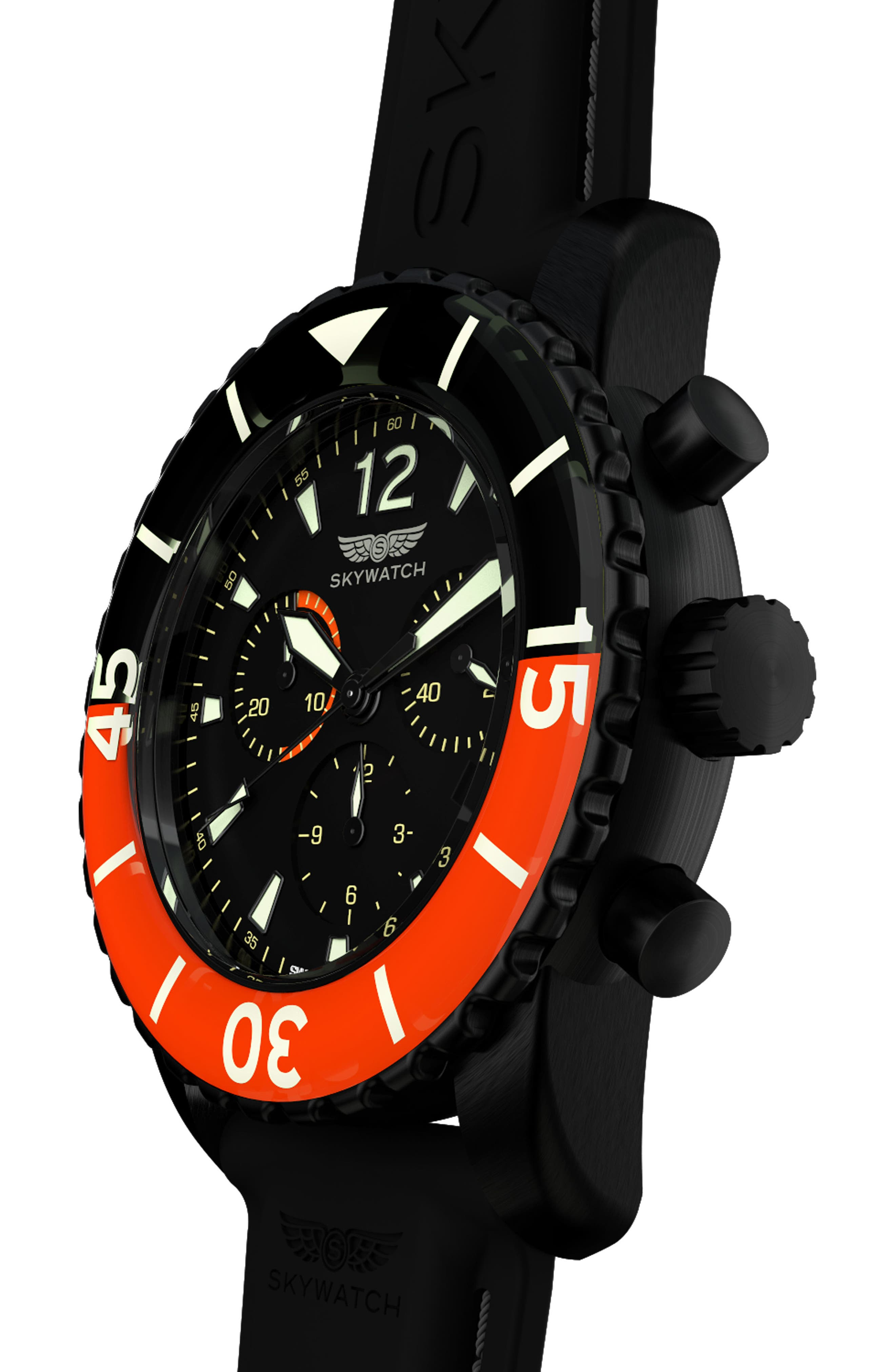 Classic Chronograph Silicone Strap Watch, 44mm,                             Alternate thumbnail 5, color,                             Black/ Black