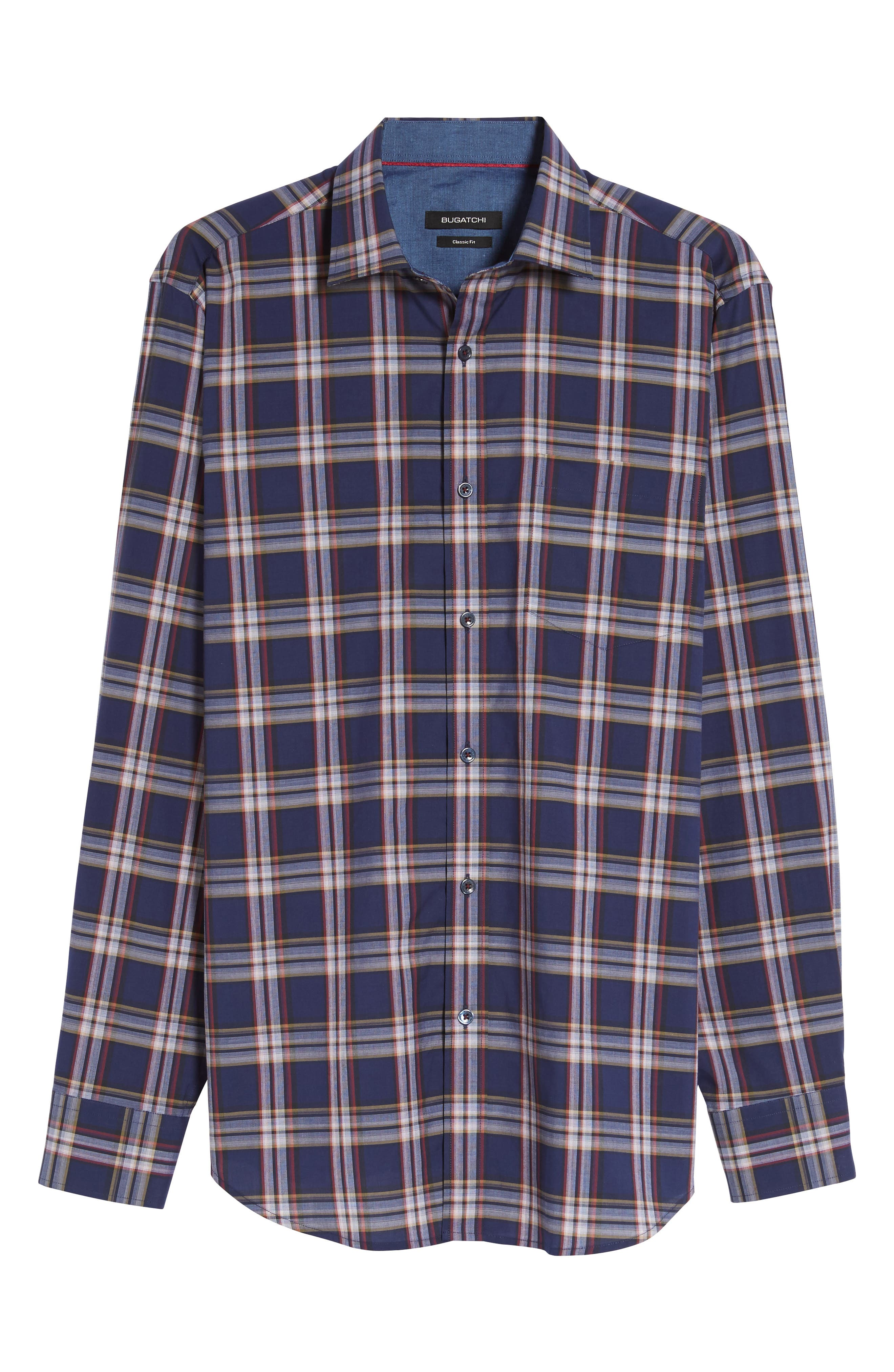Classic Fit Plaid Sport Shirt,                             Alternate thumbnail 6, color,                             Navy