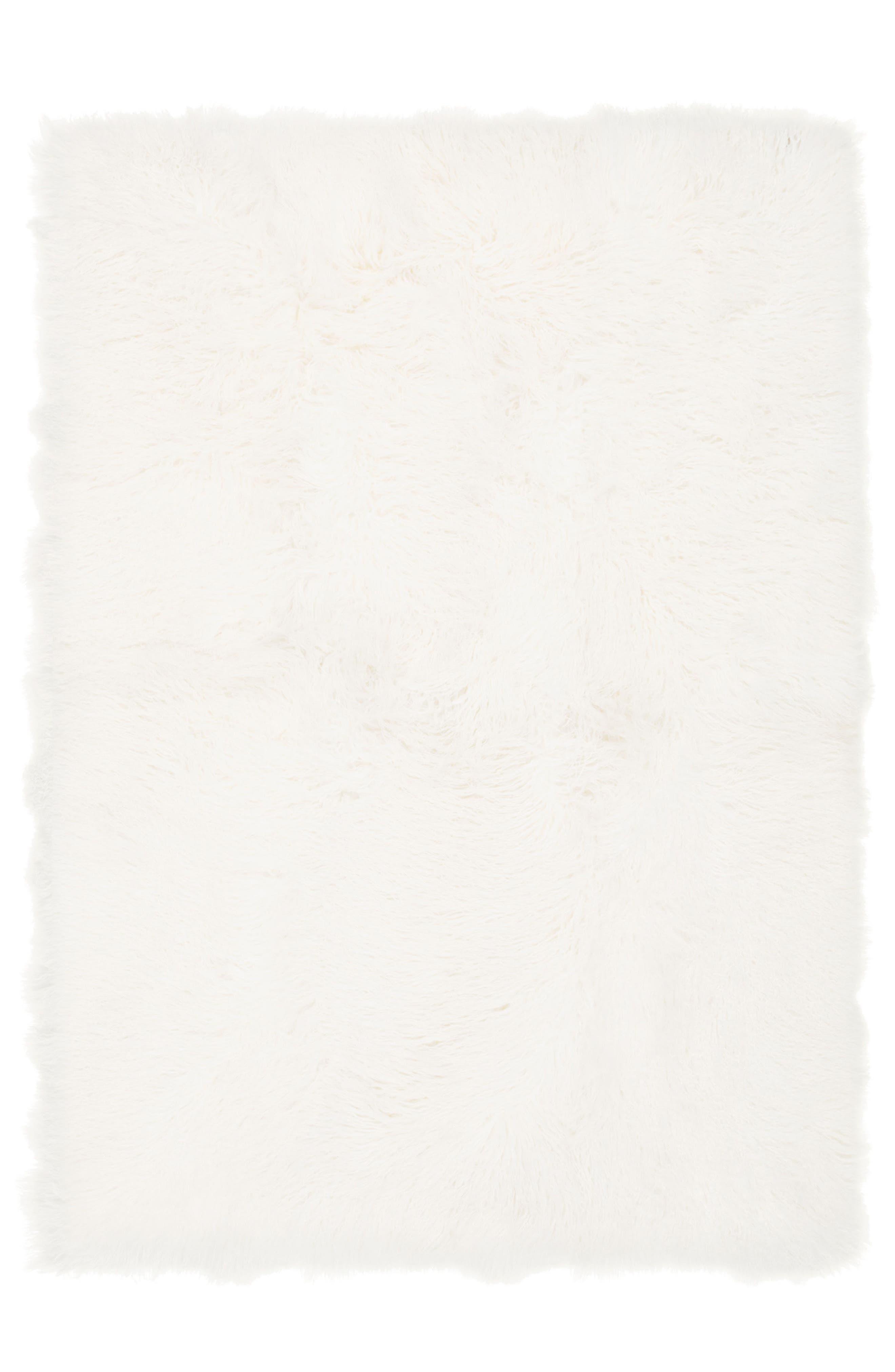 Moritz Matterhorn Genuine Shearling Area Rug,                             Main thumbnail 1, color,                             Ivory