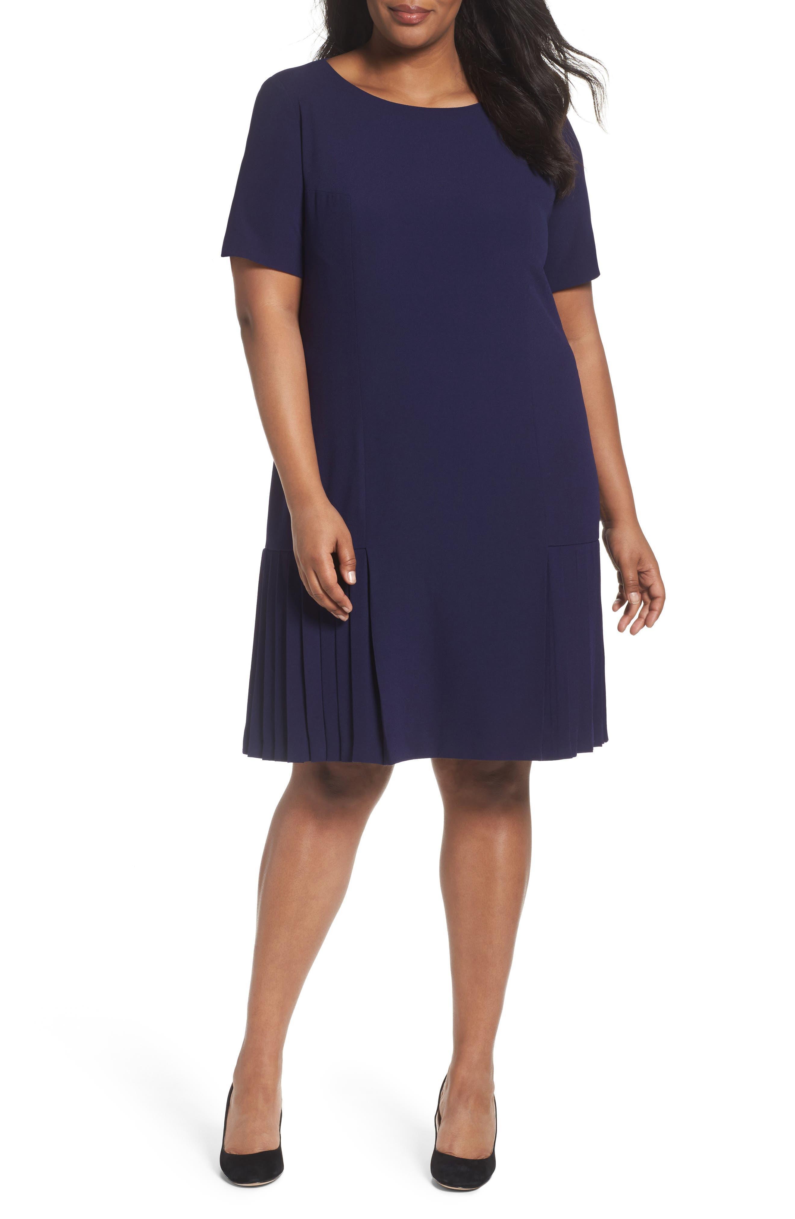 Tahari Pleat Crepe A-Line Dress (Plus Size)