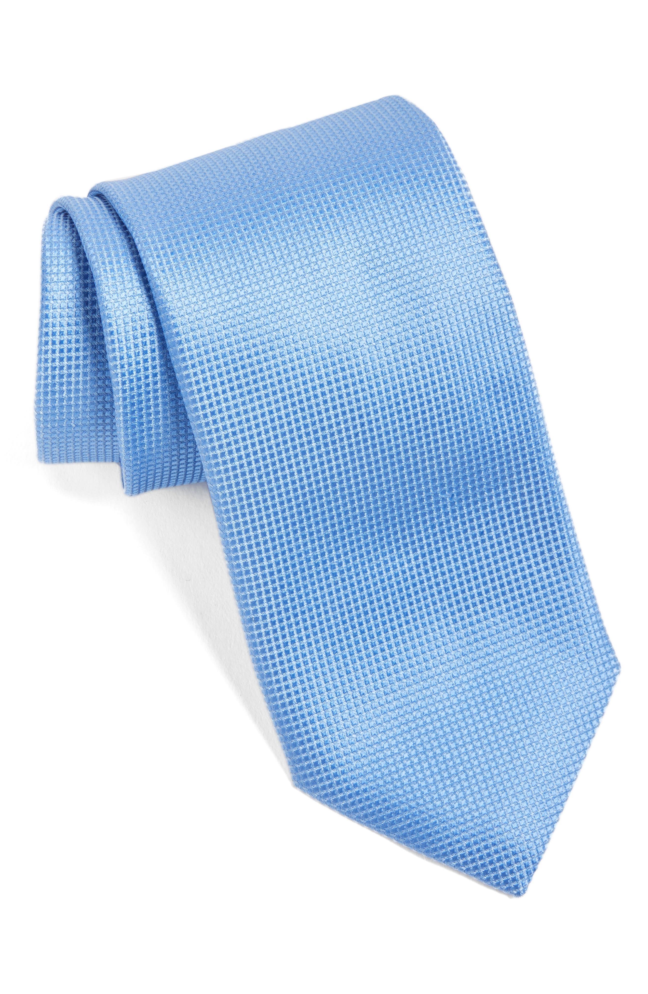 Solid Silk Tie,                         Main,                         color, Light Blue