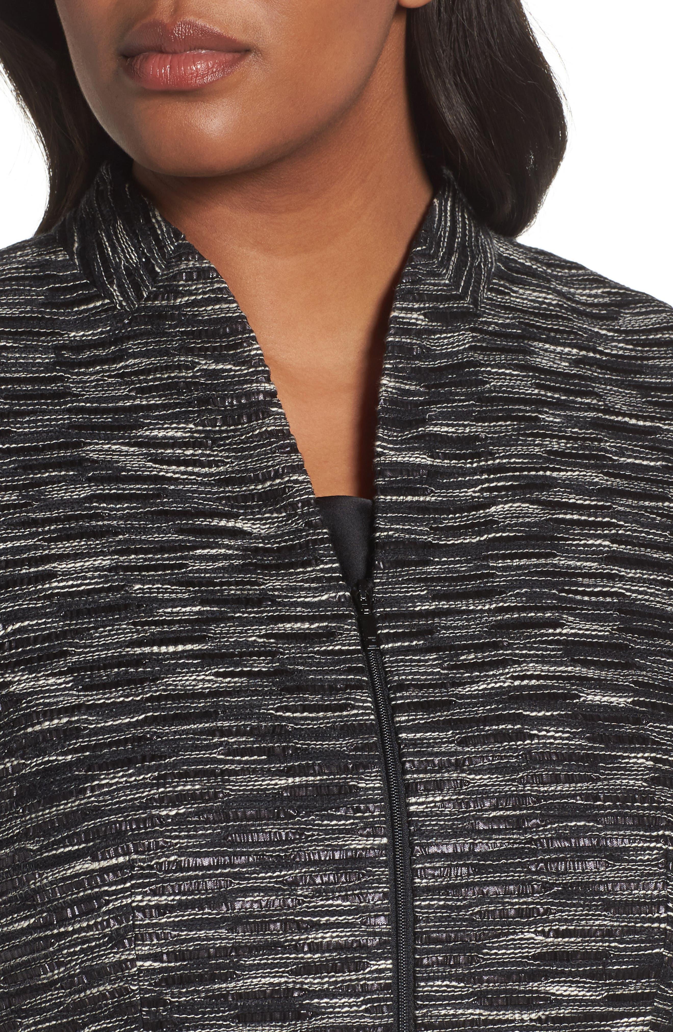 Meryl Zip Front Jacket,                             Alternate thumbnail 4, color,                             Black Multi
