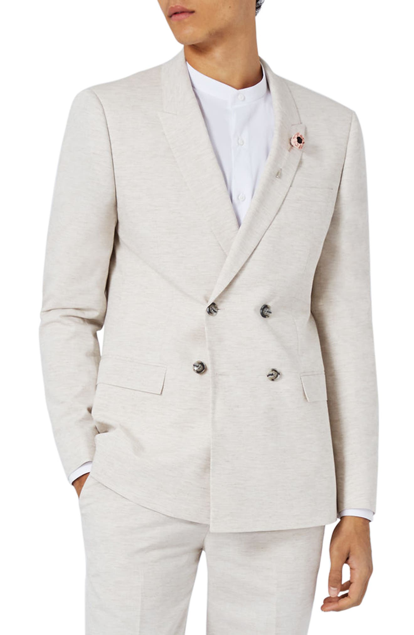 Main Image - Topman Skinny Fit Double Breasted Marled Suit Jacket