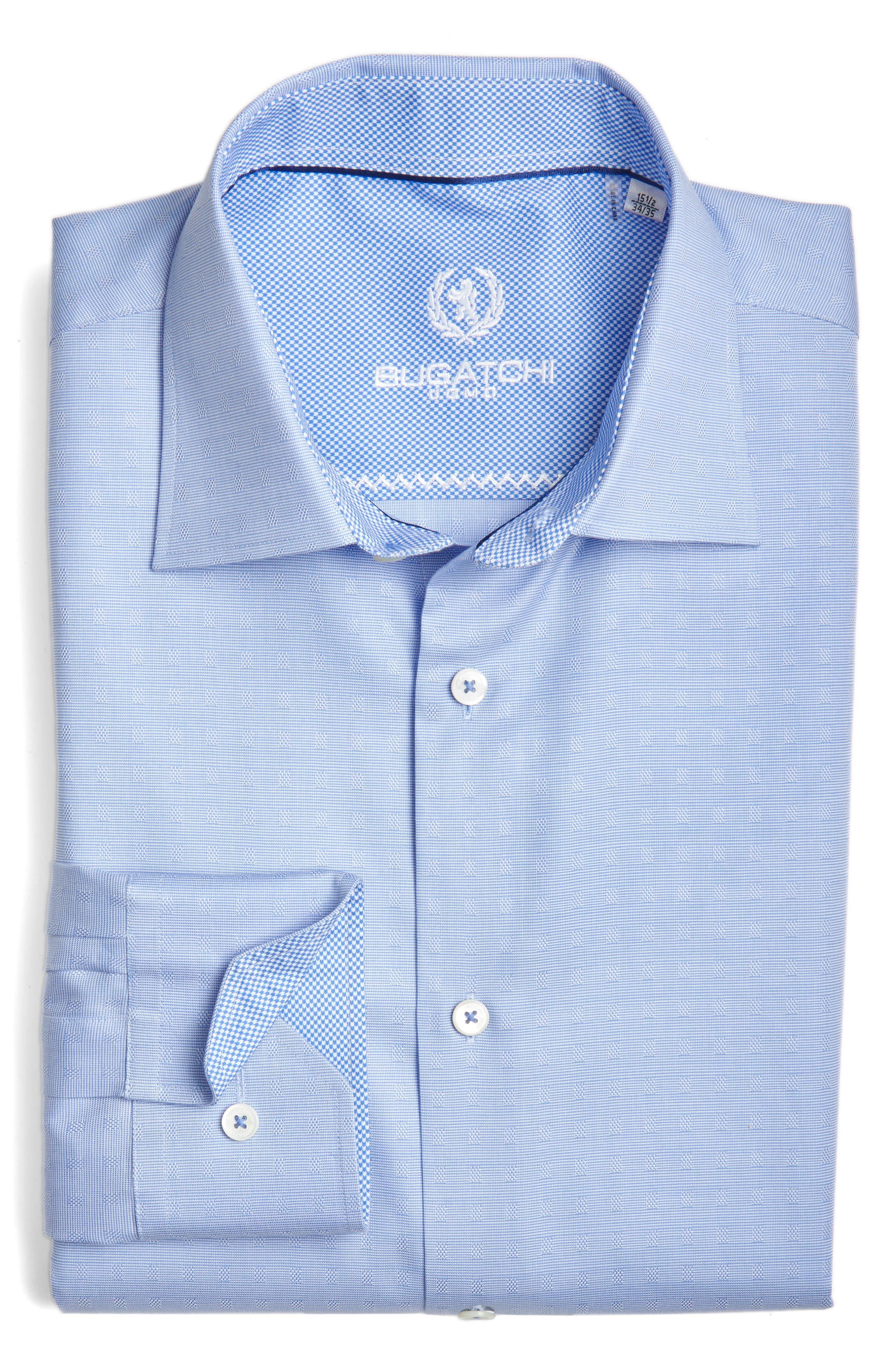 Trim Fit Solid Dress Shirt,                             Main thumbnail 1, color,                             Classic Blue