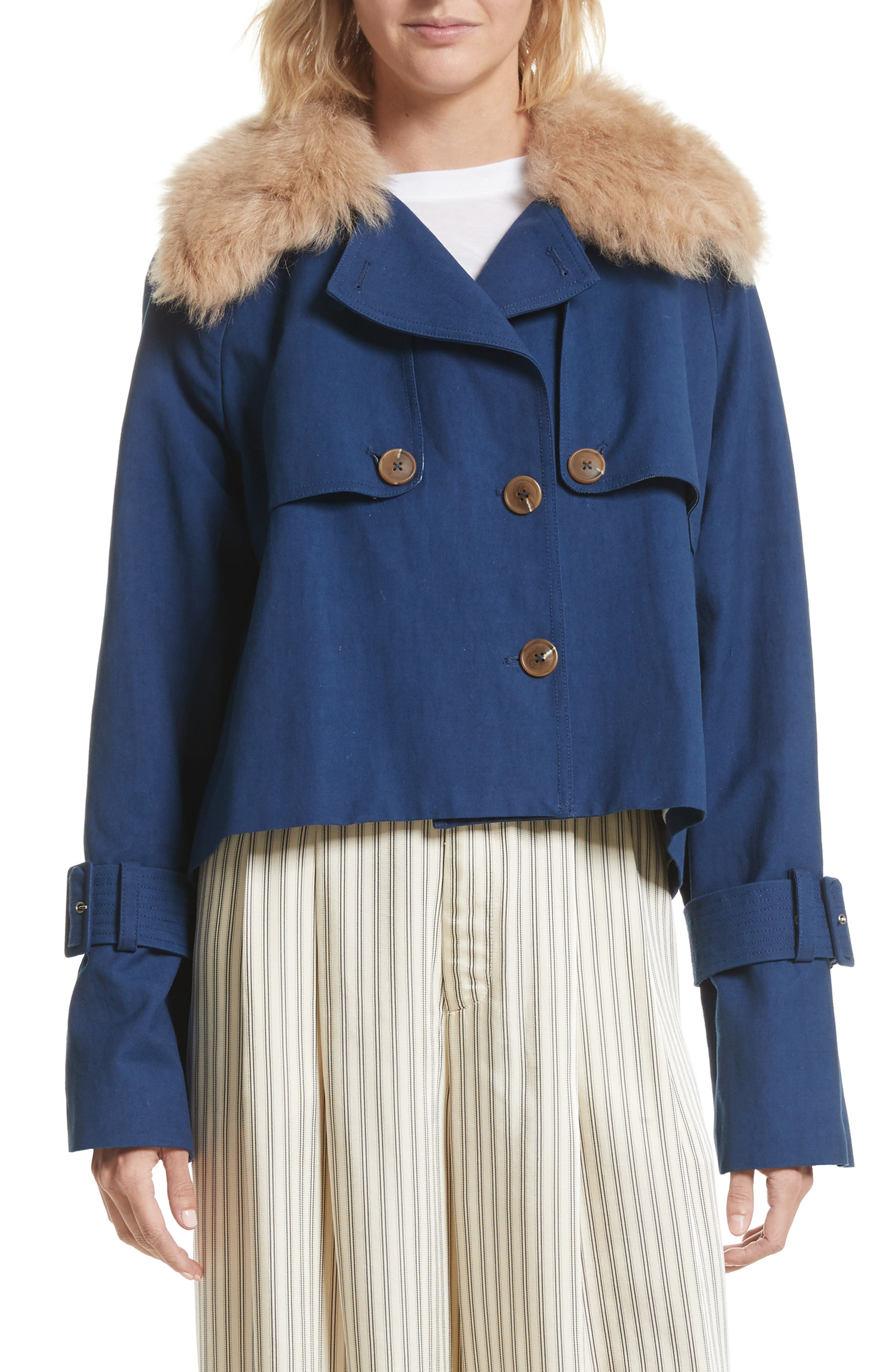 Sea Crop Trench Coat with Genuine Lamb Fur Collar