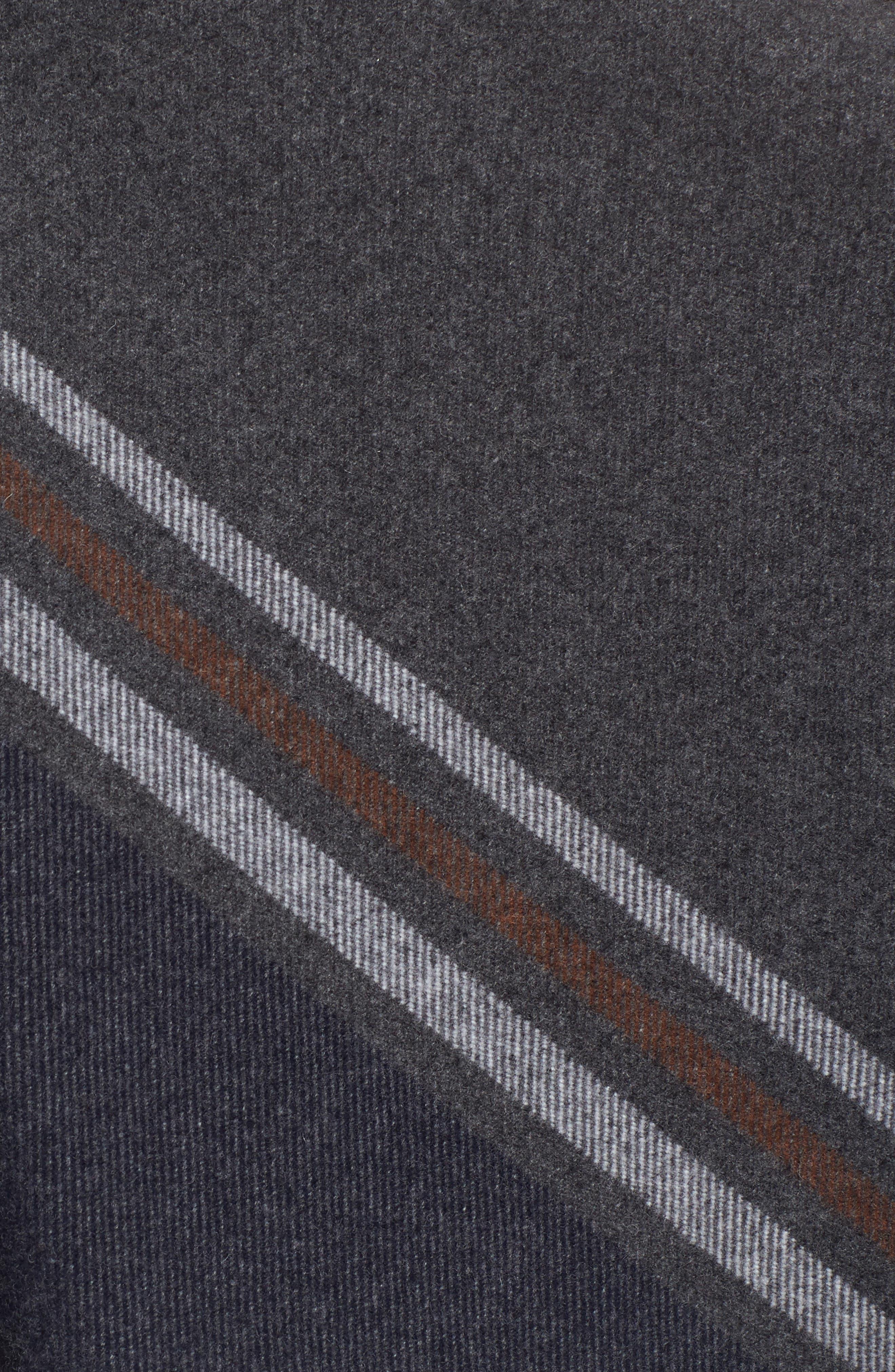 Addison Stripe Wool Wrap,                             Alternate thumbnail 6, color,                             Dark Grey