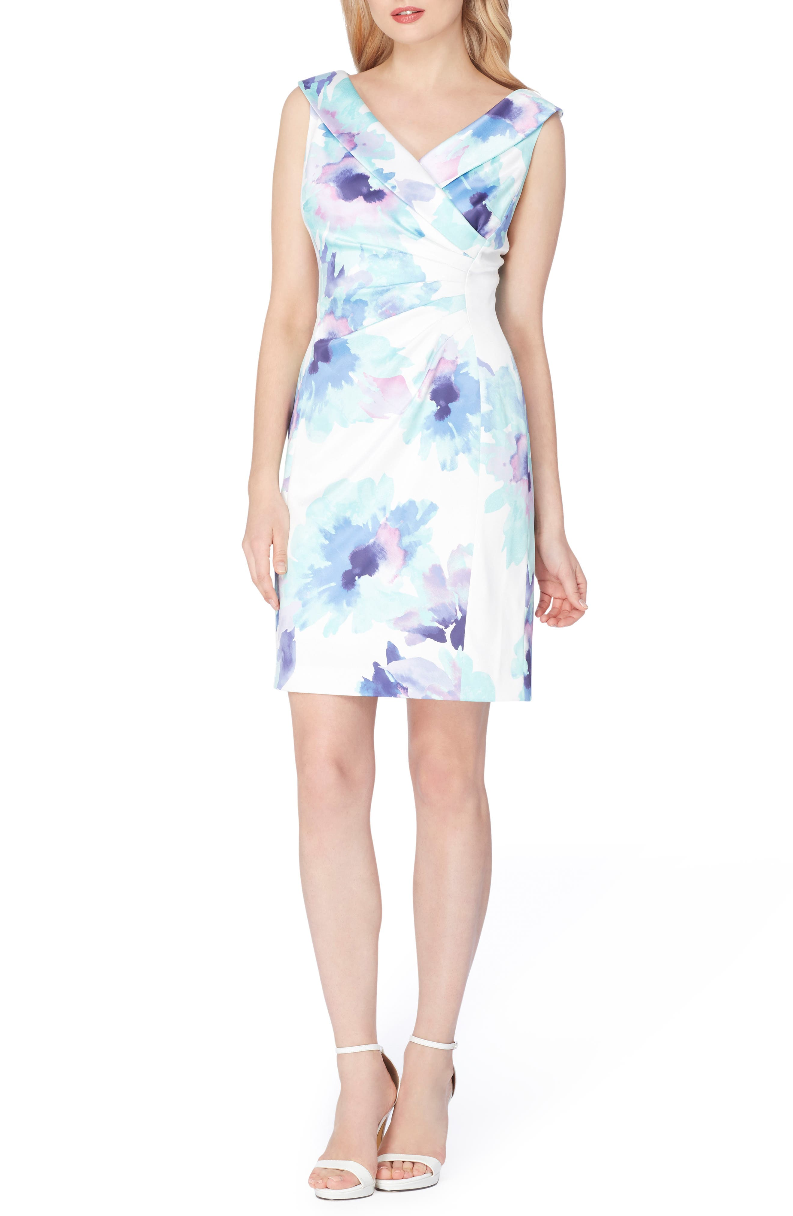 Stretch Satin Sheath Dress,                         Main,                         color, Ivory/ Turquoise/ Royal