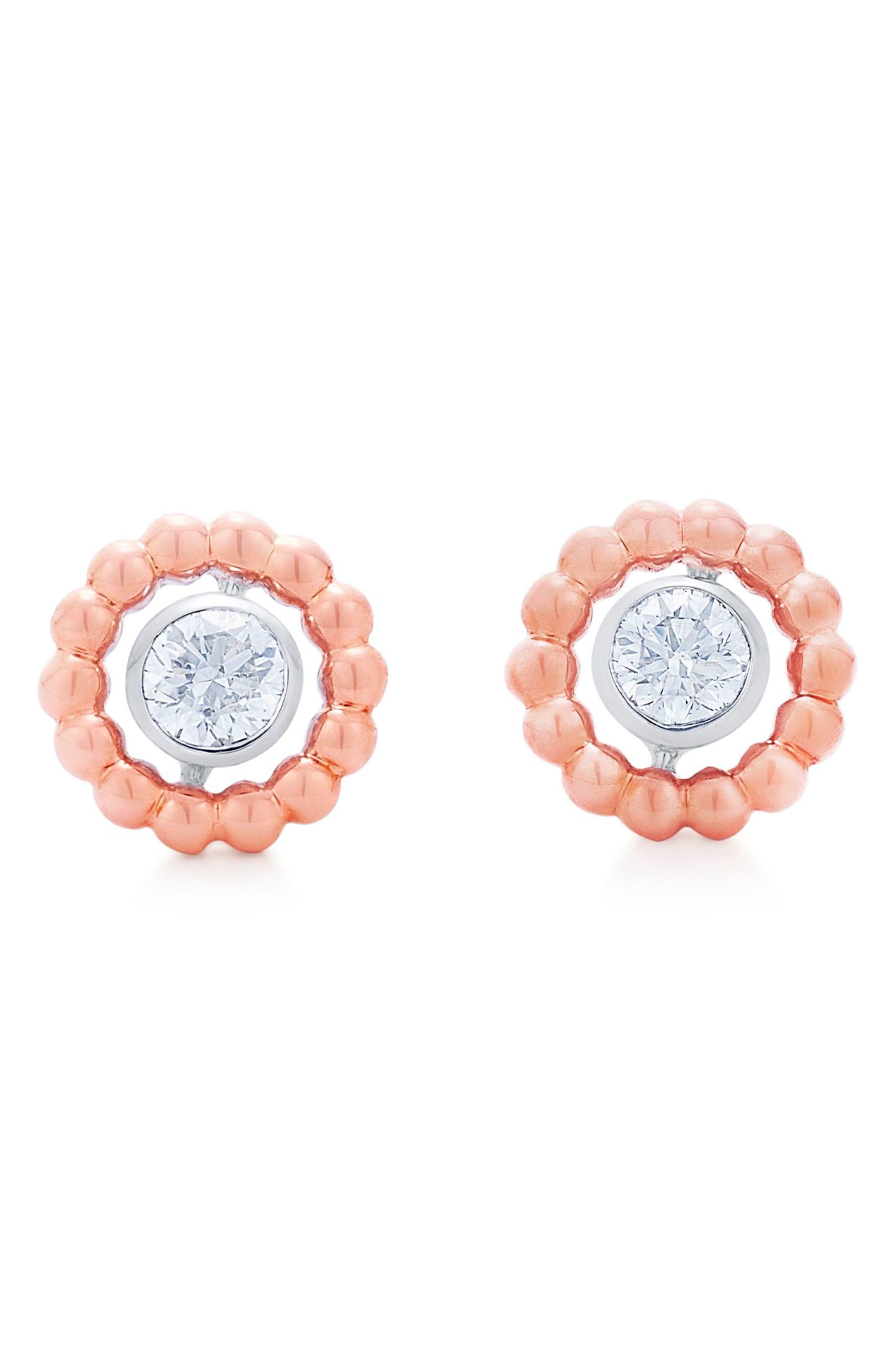 Beaded Diamond Stud Earrings,                         Main,                         color, Rose Gold