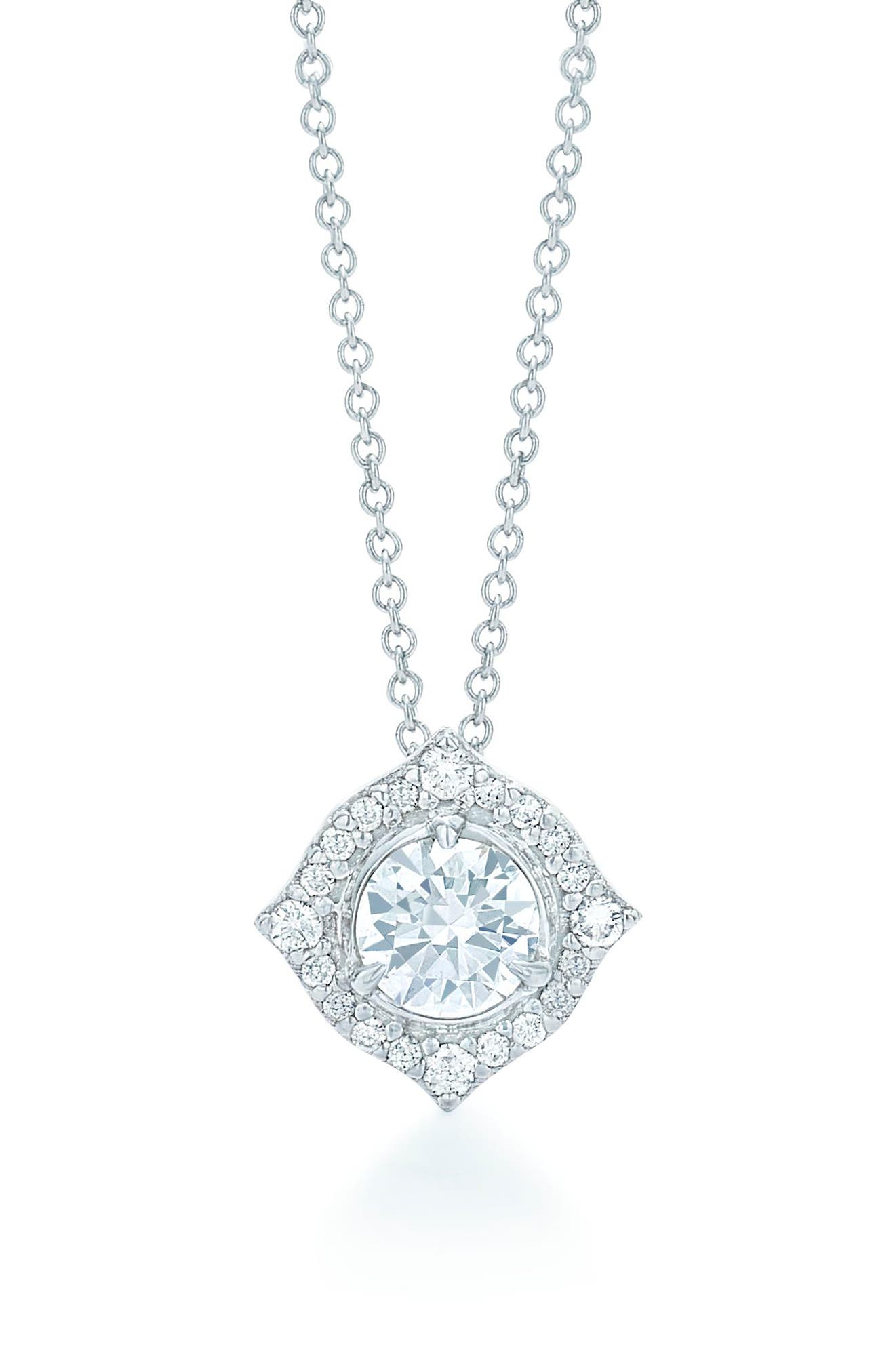 Halo Diamond Pendant Necklace,                             Main thumbnail 1, color,                             White Gold