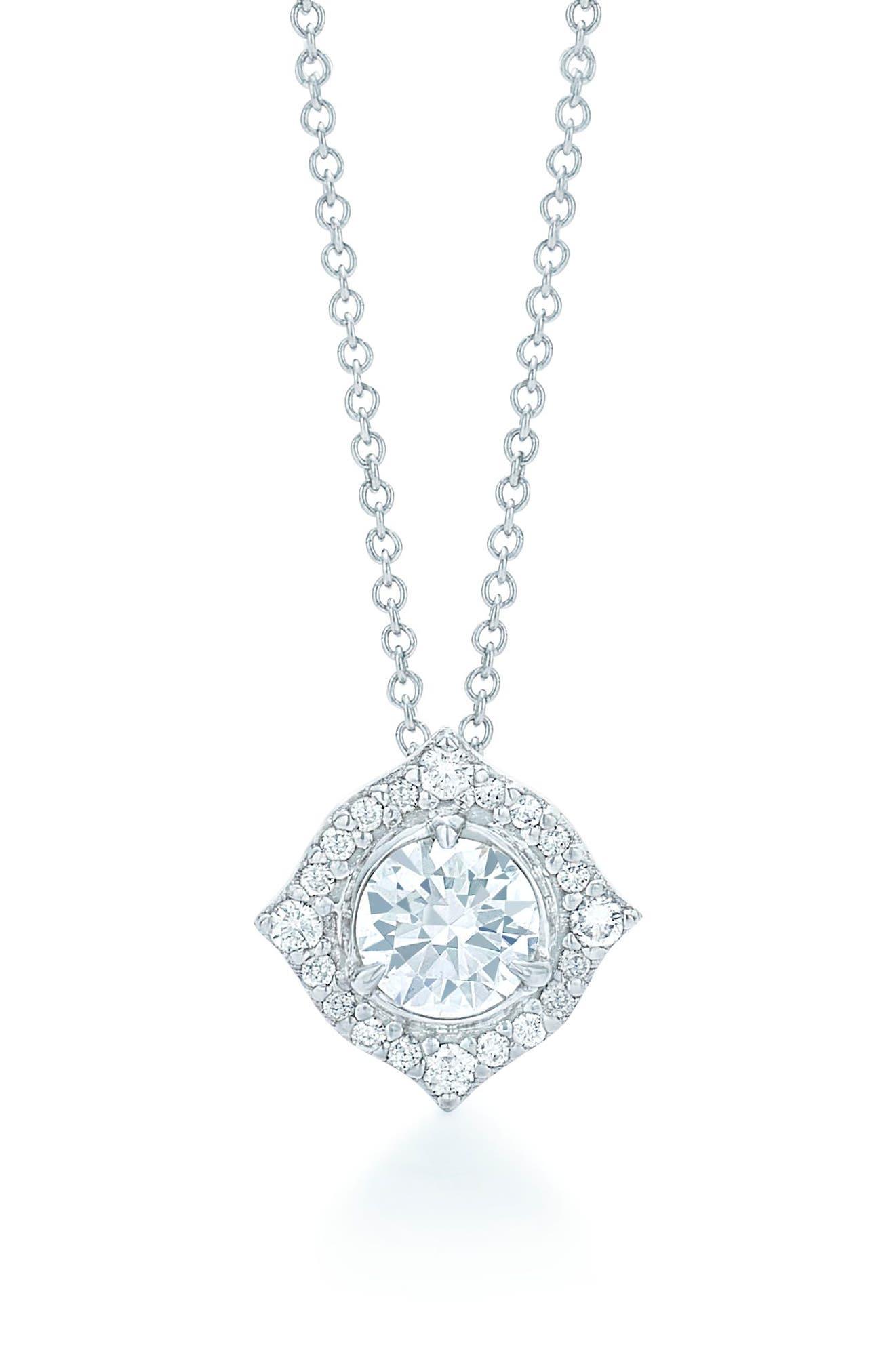 Halo Diamond Pendant Necklace,                         Main,                         color, White Gold