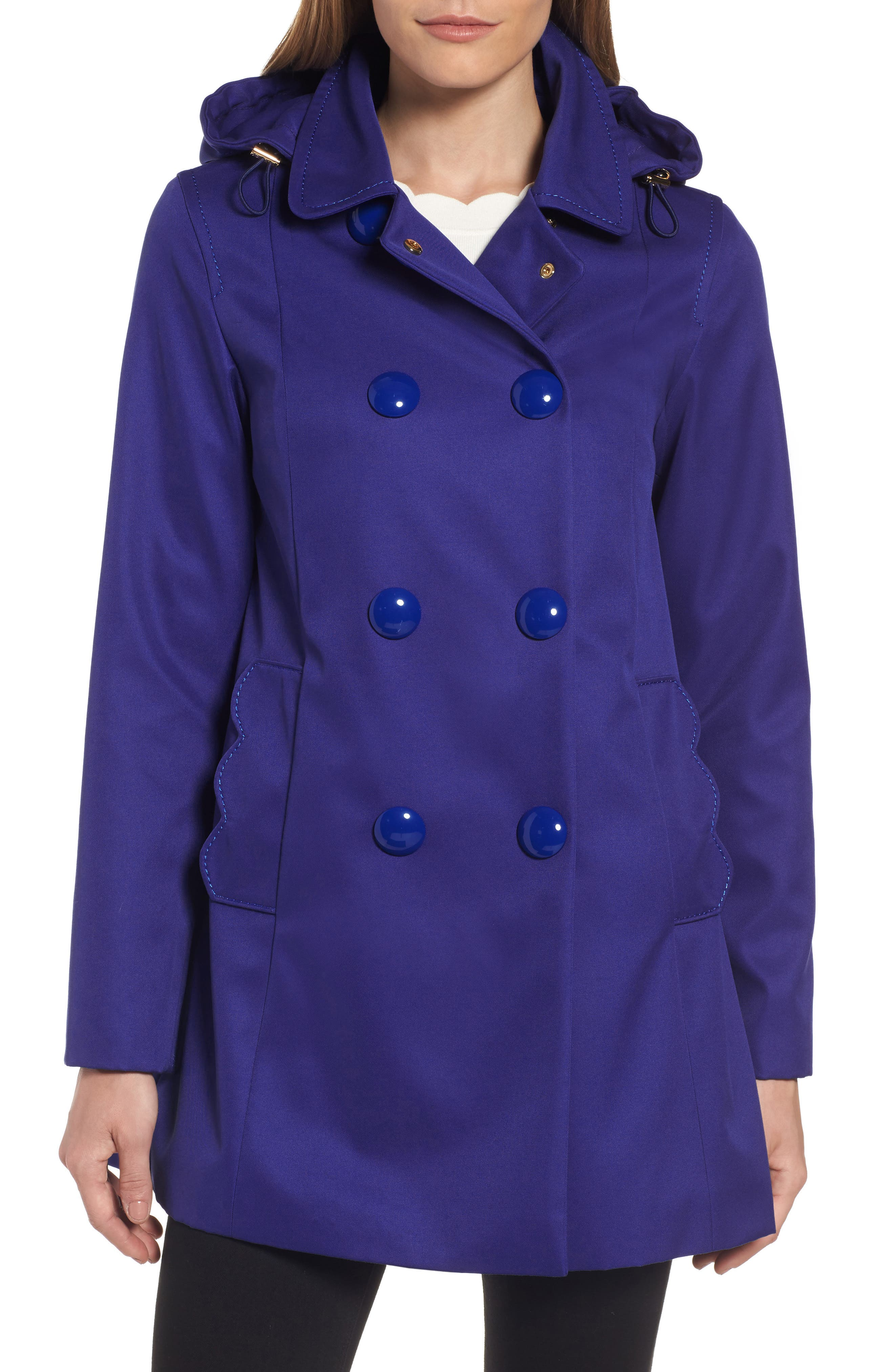 scallop pocket a-line raincoat,                         Main,                         color, Delft Blue