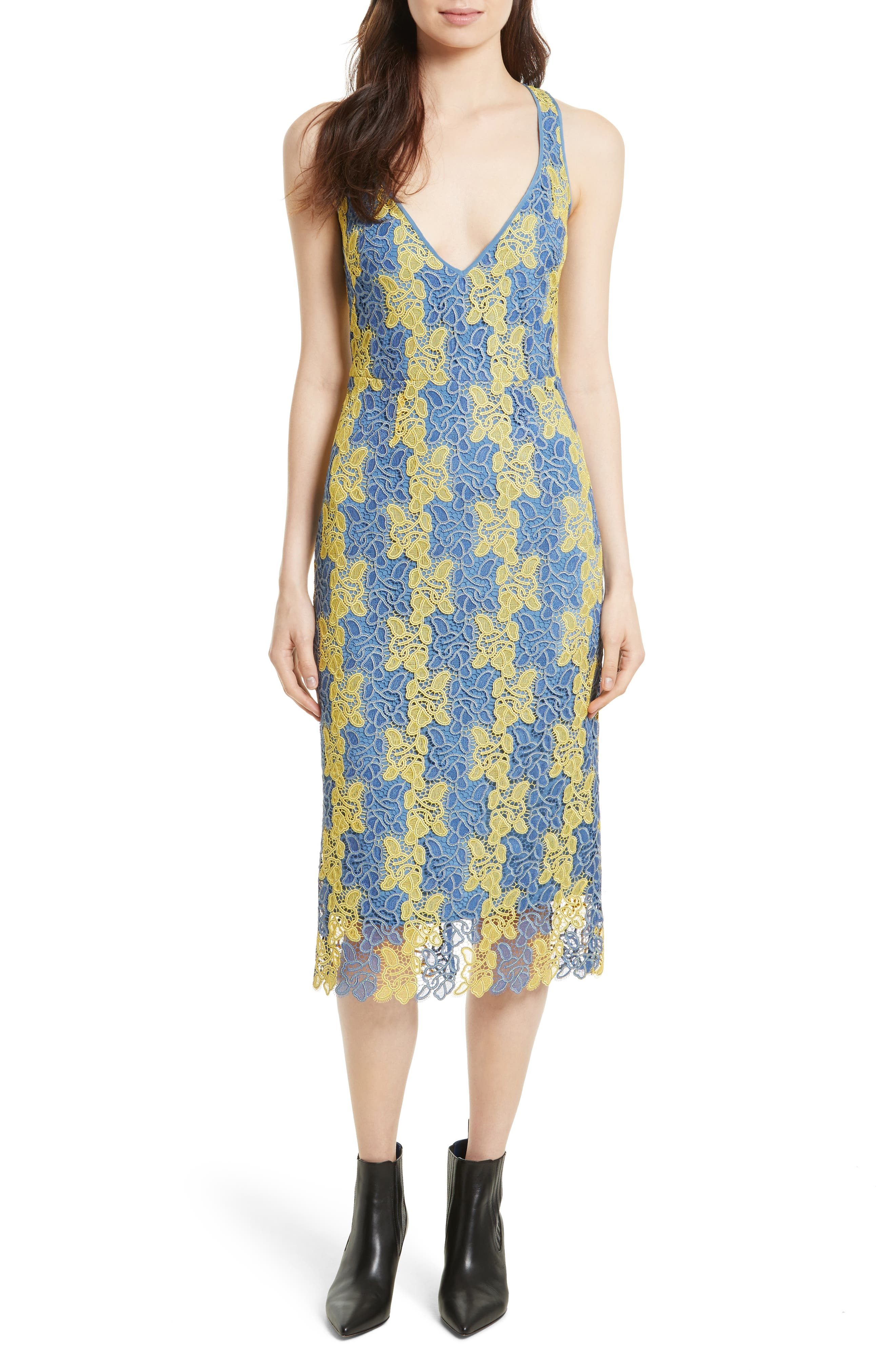Lace Midi Dress,                             Main thumbnail 1, color,                             Denim/ Lemon