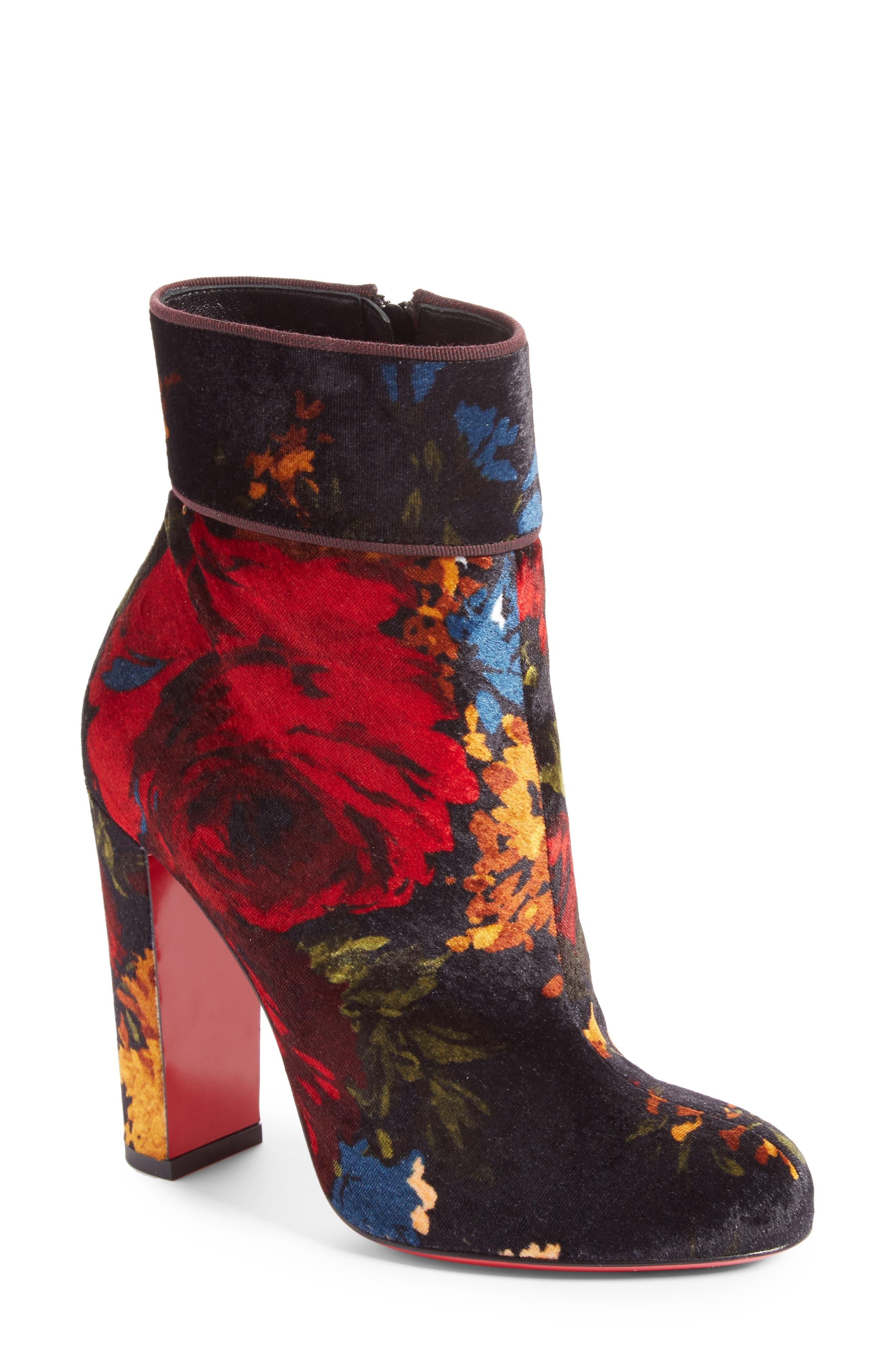 Moulamax Floral Velvet Bootie,                             Main thumbnail 1, color,                             Black Floral Velvet