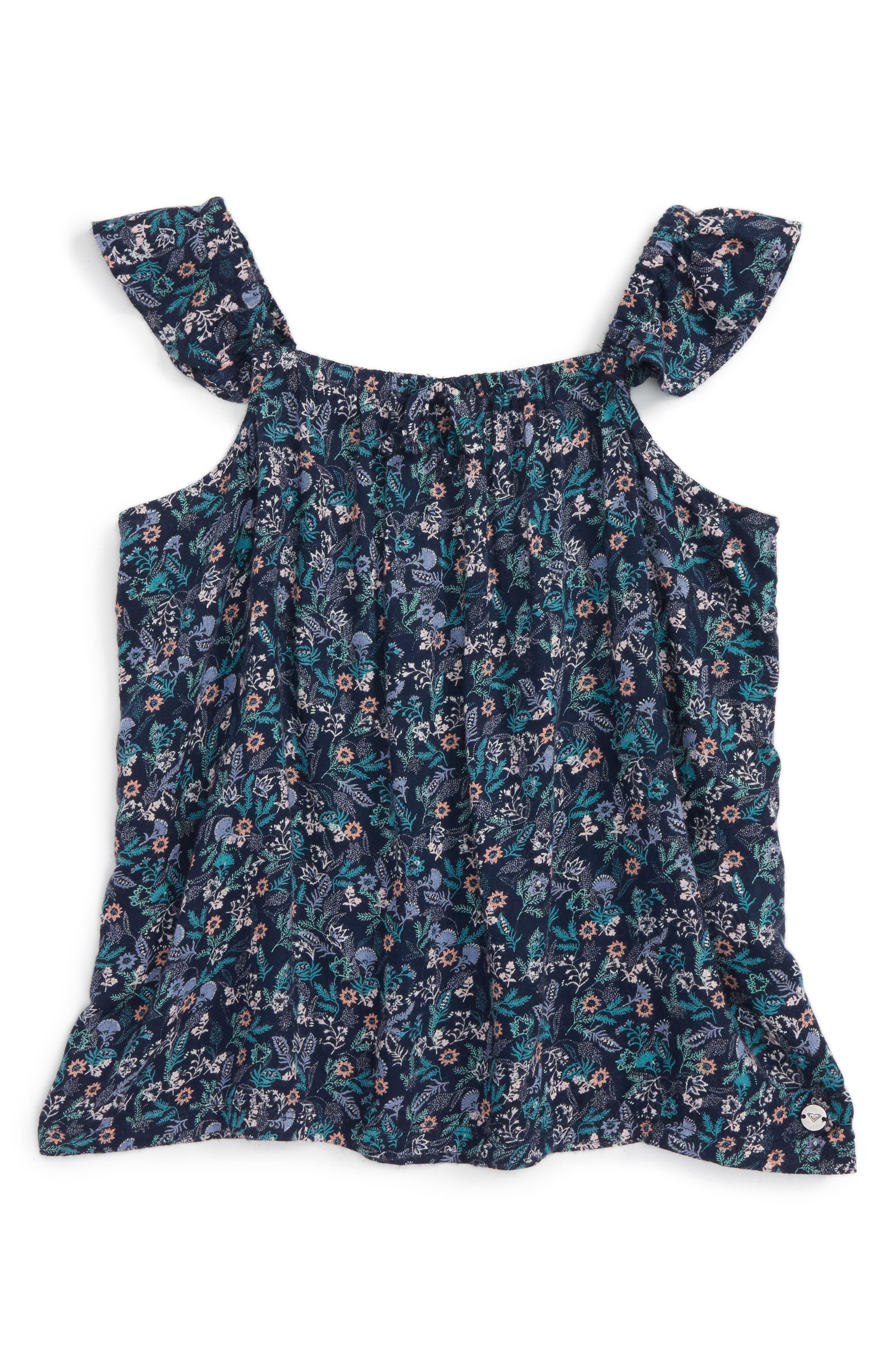 Main Image - Roxy Are You Gonna Print Flutter Sleeve Tank (Big Girls)
